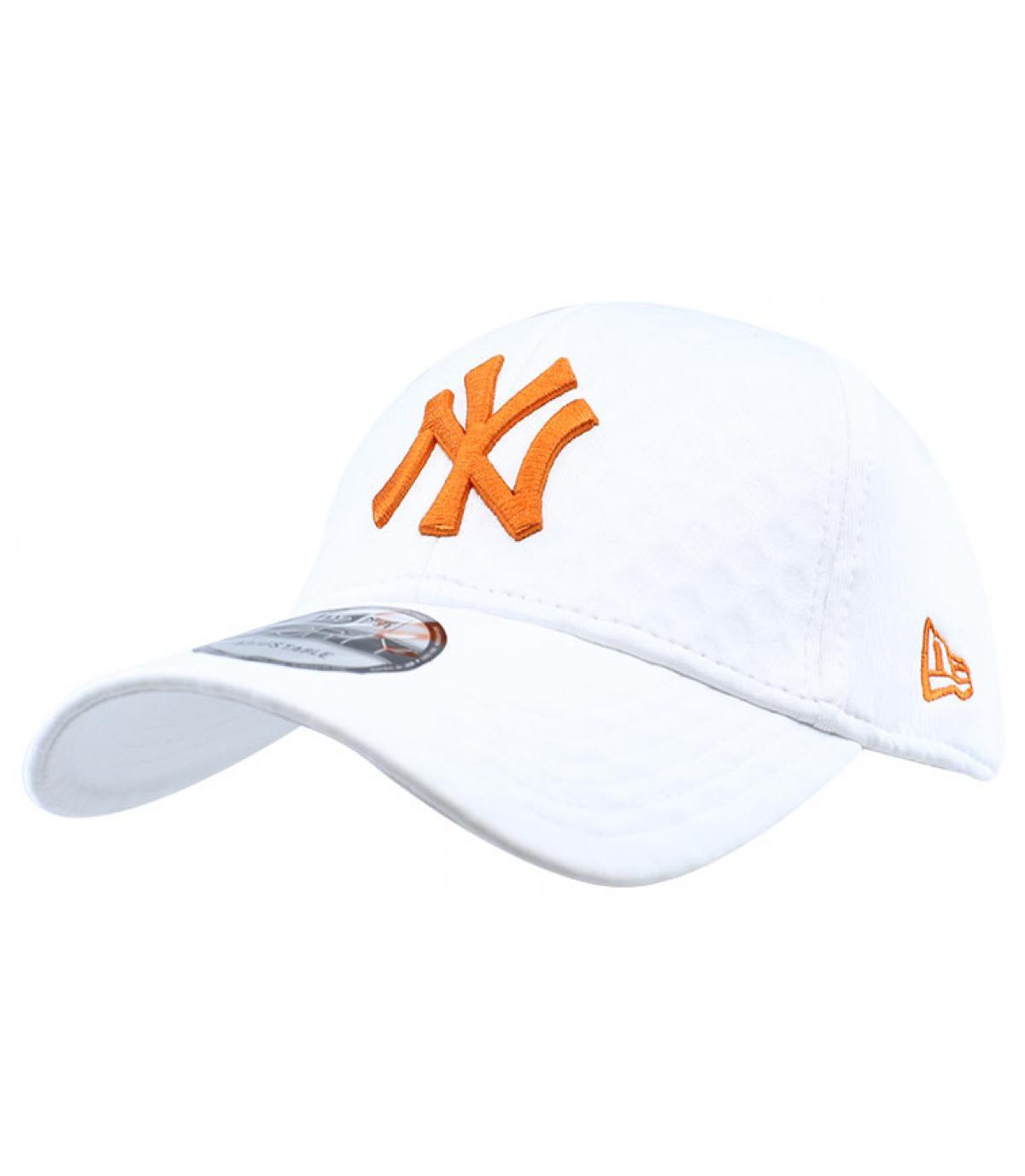 casquette NY blanc orange