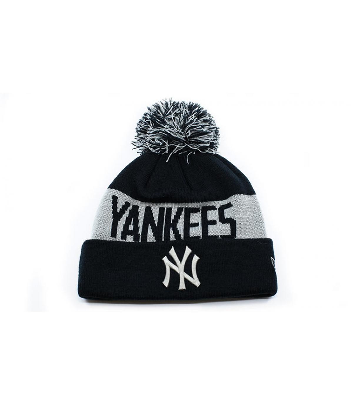 bonnet revers NY noir gris