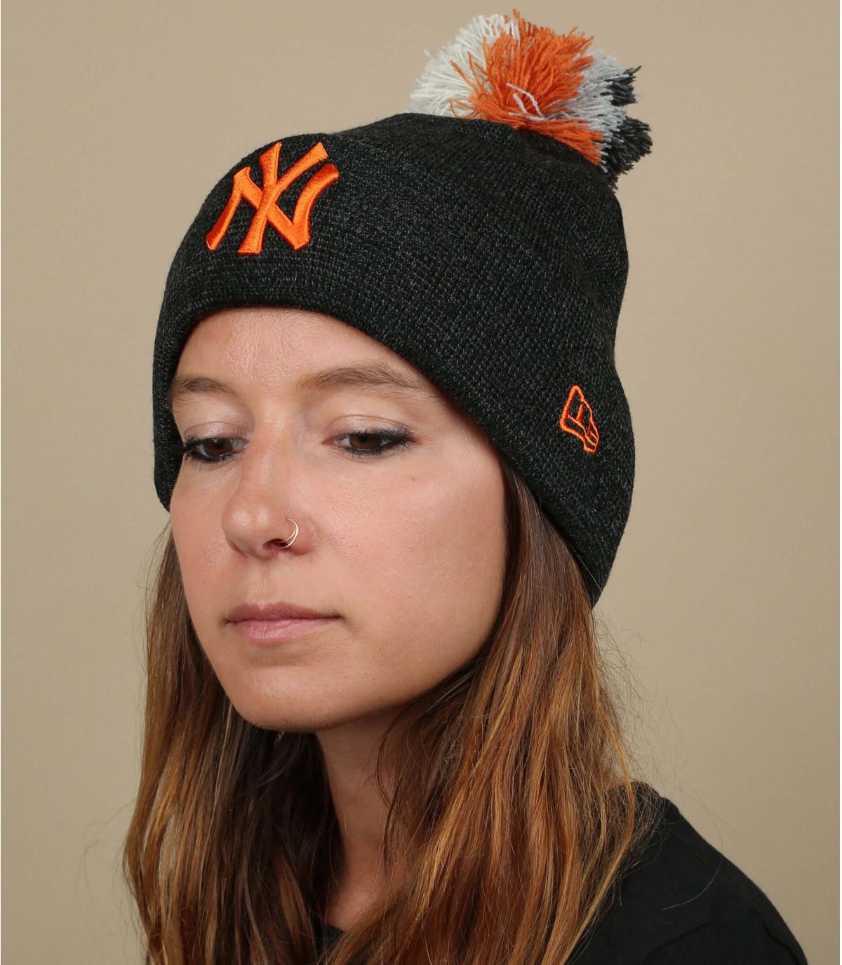 bonnet NY femme gris orange