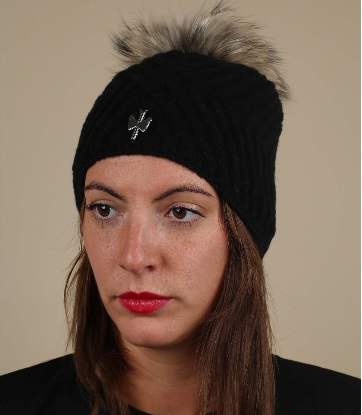 bonnet noir laine pompon fourrure