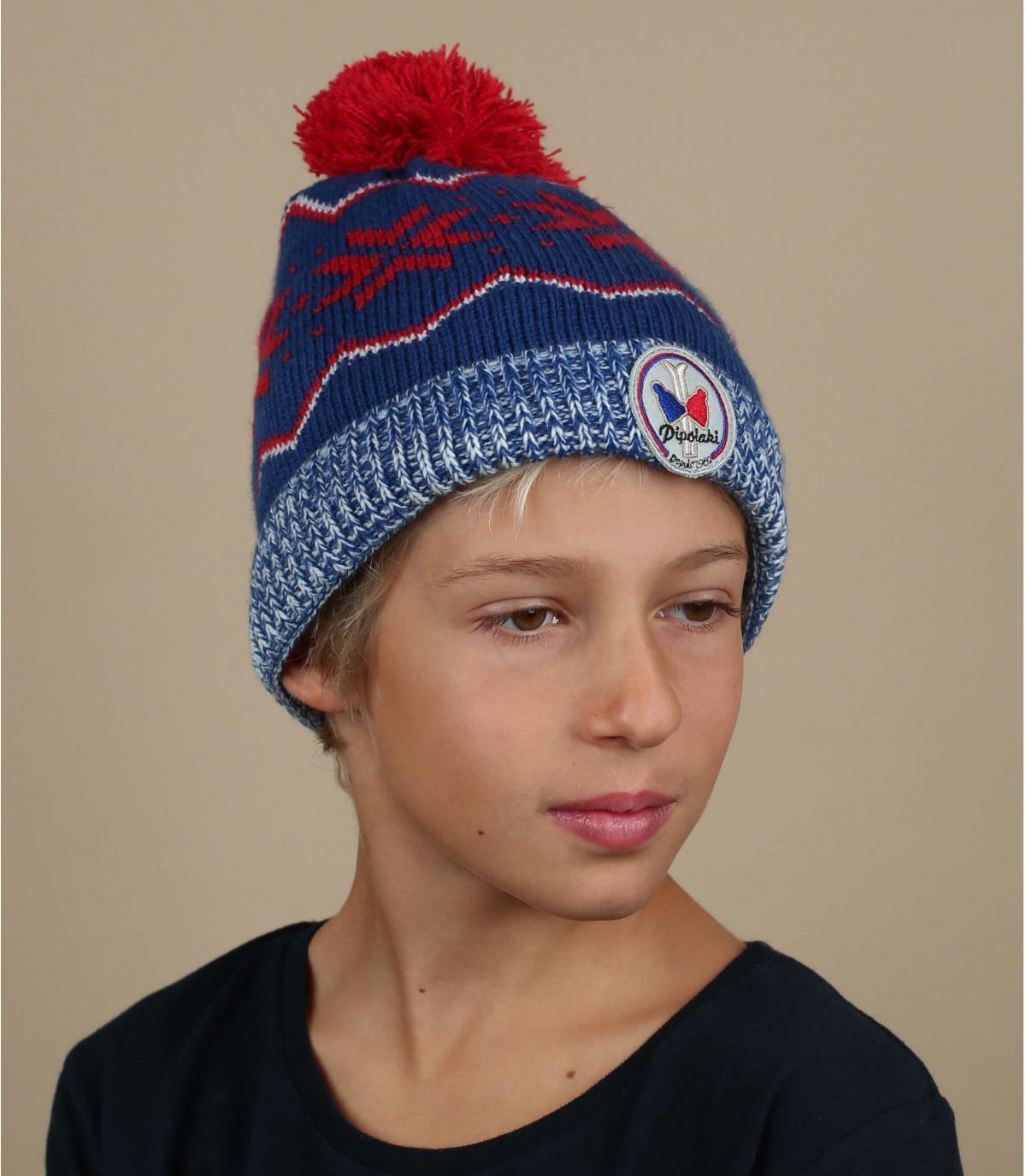 bonnet enfant bleu motif