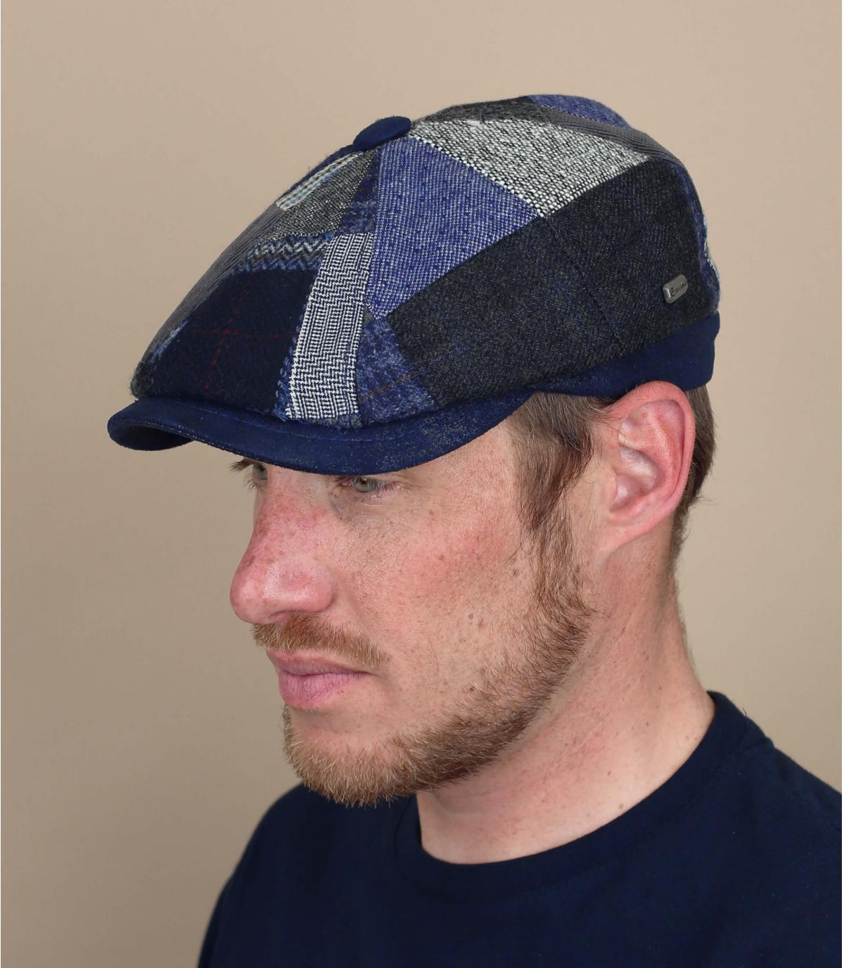 béret gavroche patchwork laine bleu