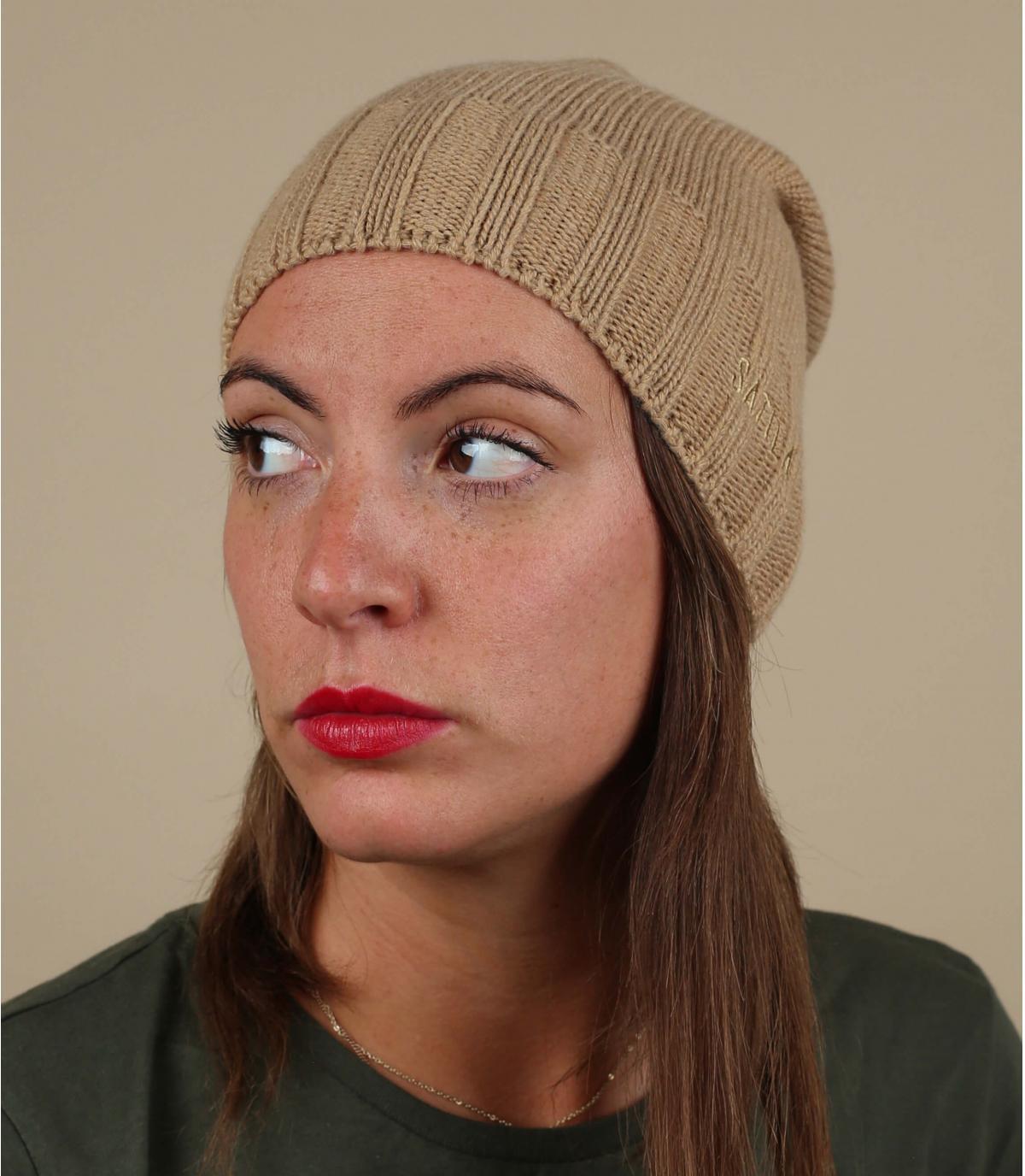 bonnet long beige laine cachemire