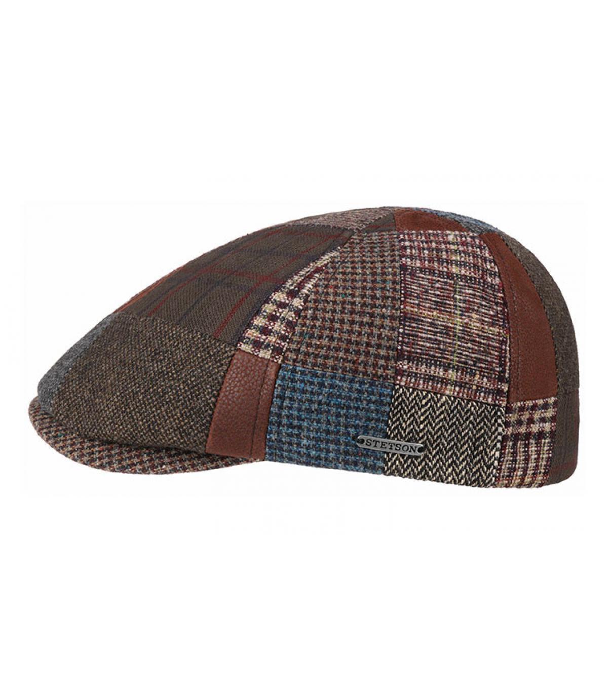 béret patchwork laine cuir