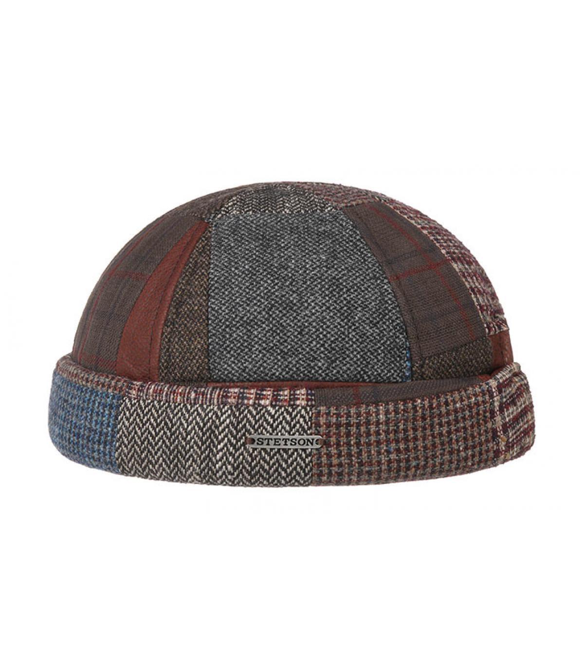 bonnet docker patchwork laine cuir