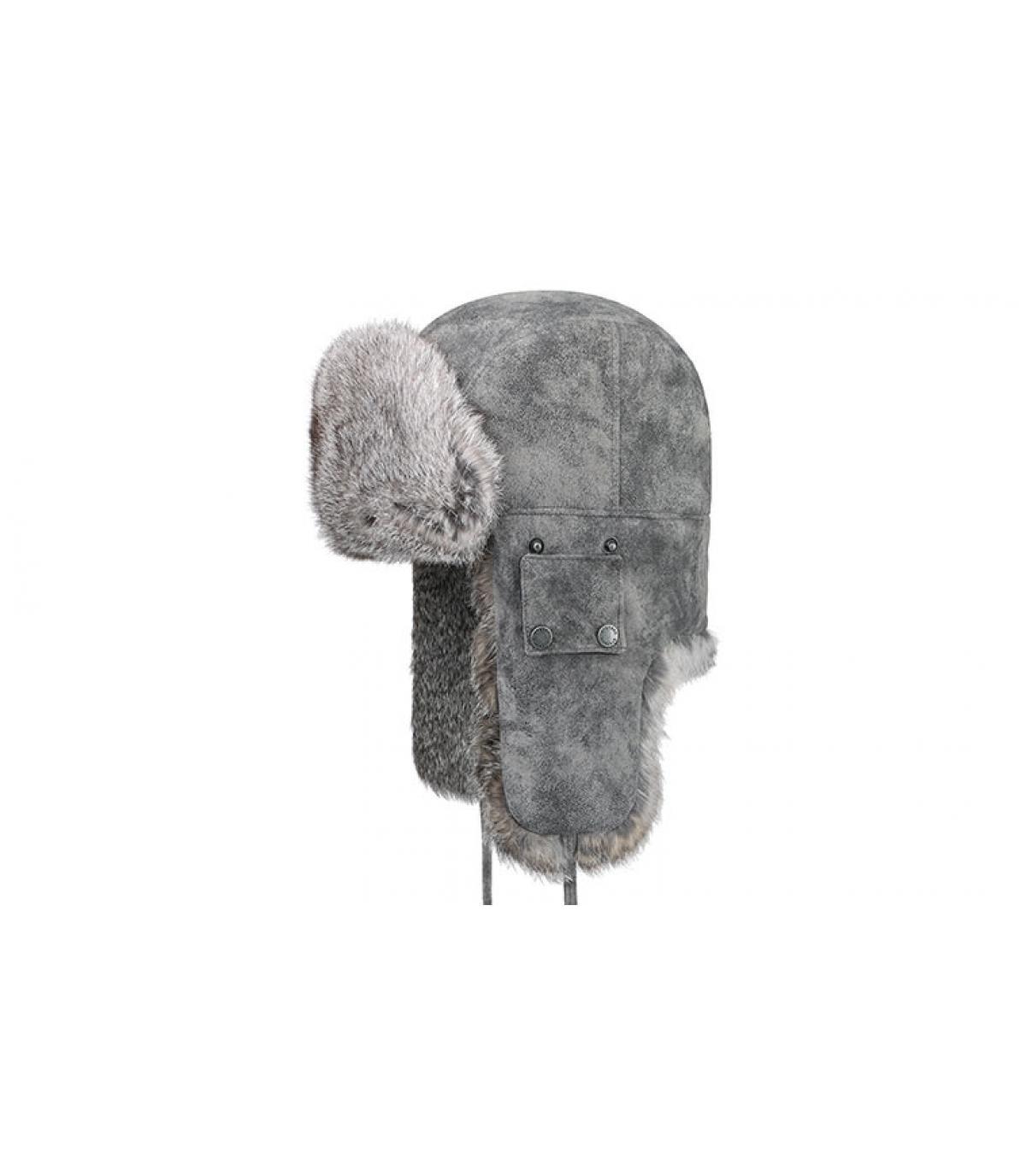 chapka gris cuir