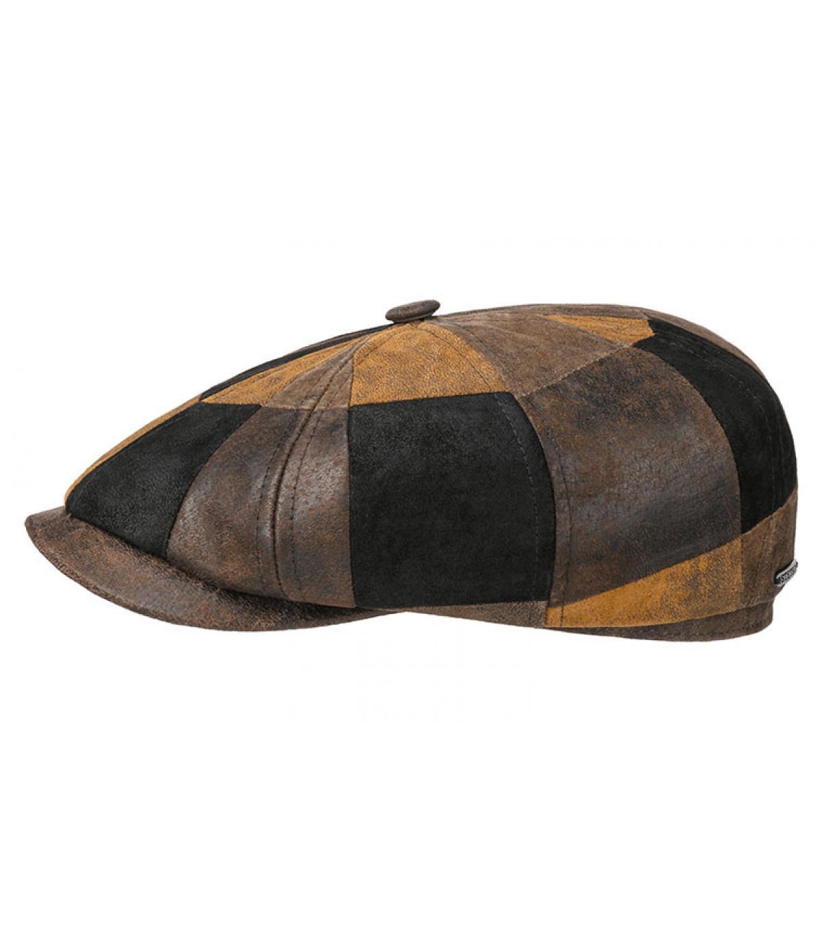 casquette gavroche cuir patchwork