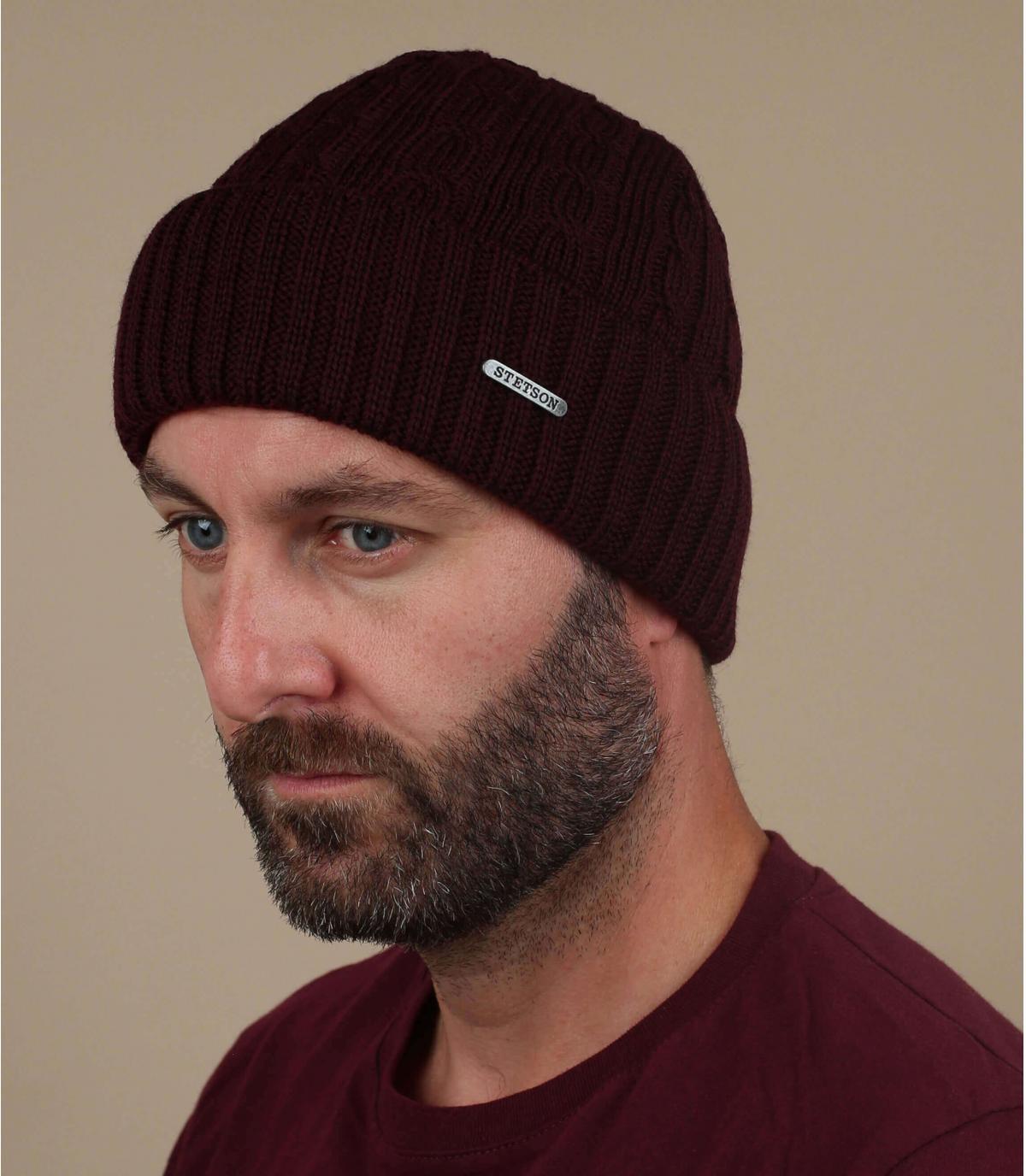 bonnet revers bordeaux laine