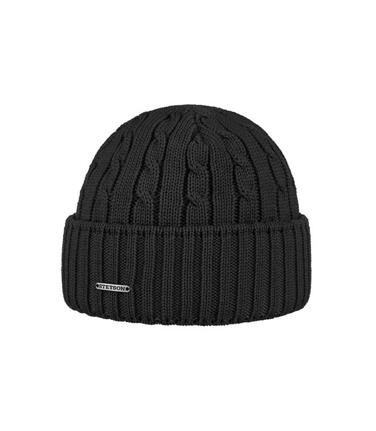 bonnet revers noir laine