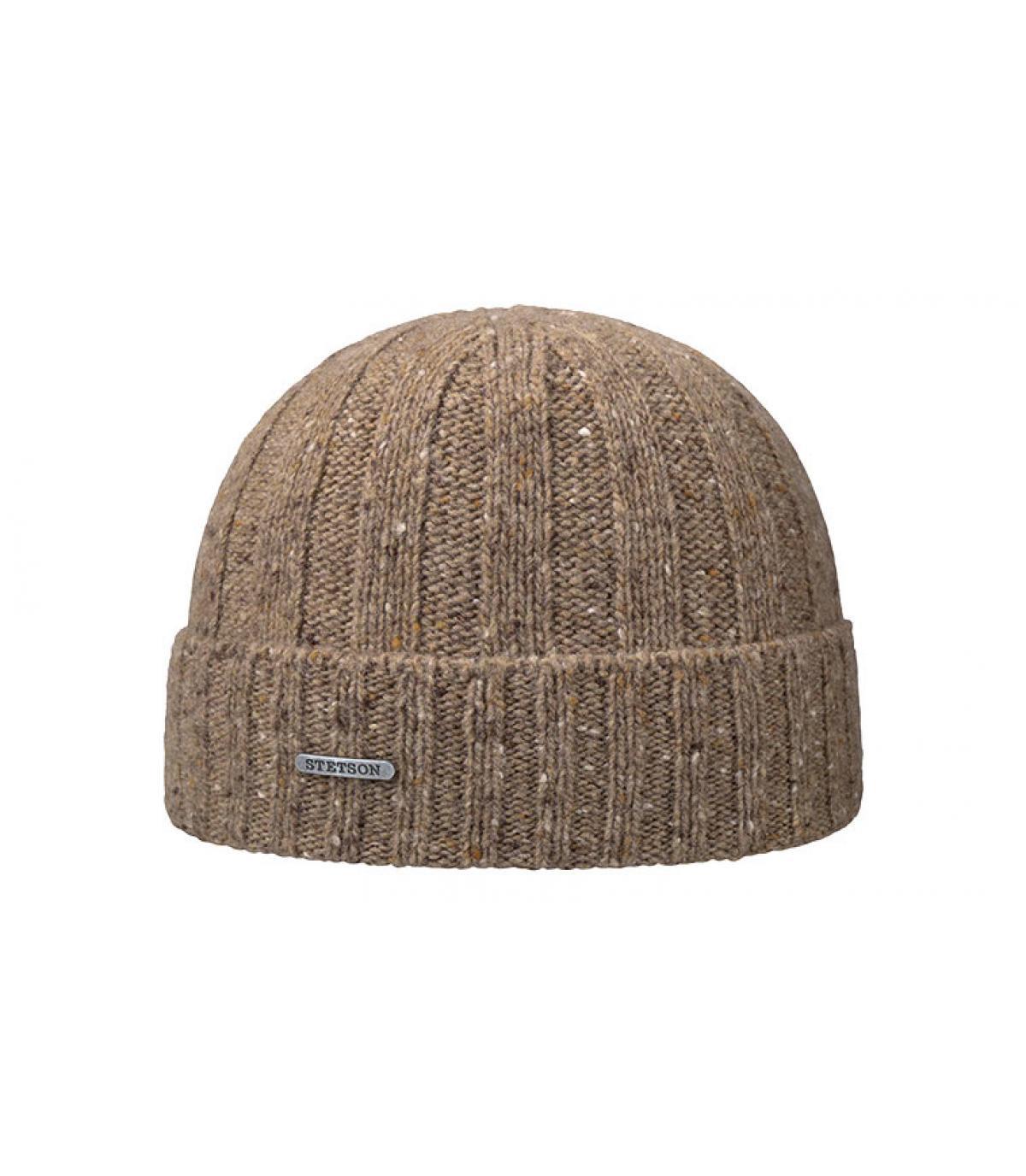 bonnet marron laine revers