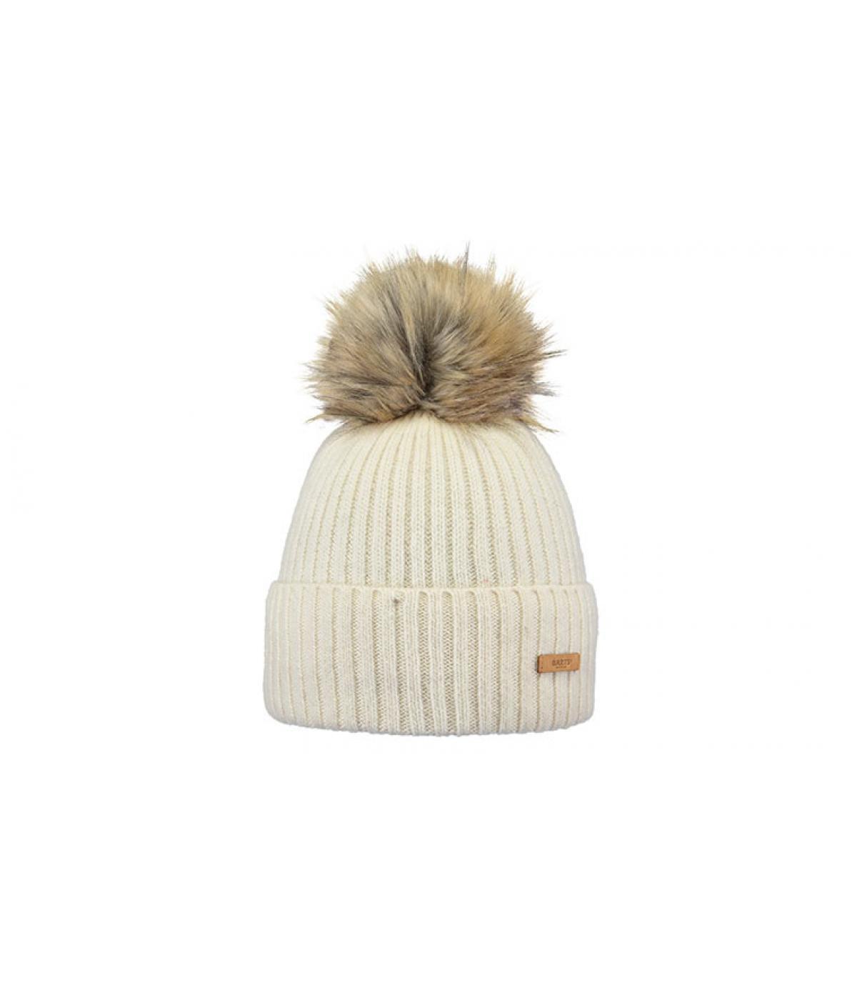 bonnet laine blanc pompon fourrure