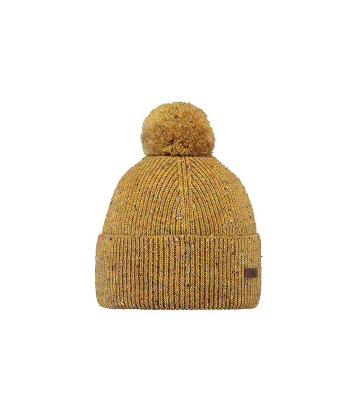 bonnet pompon jaune moutarde