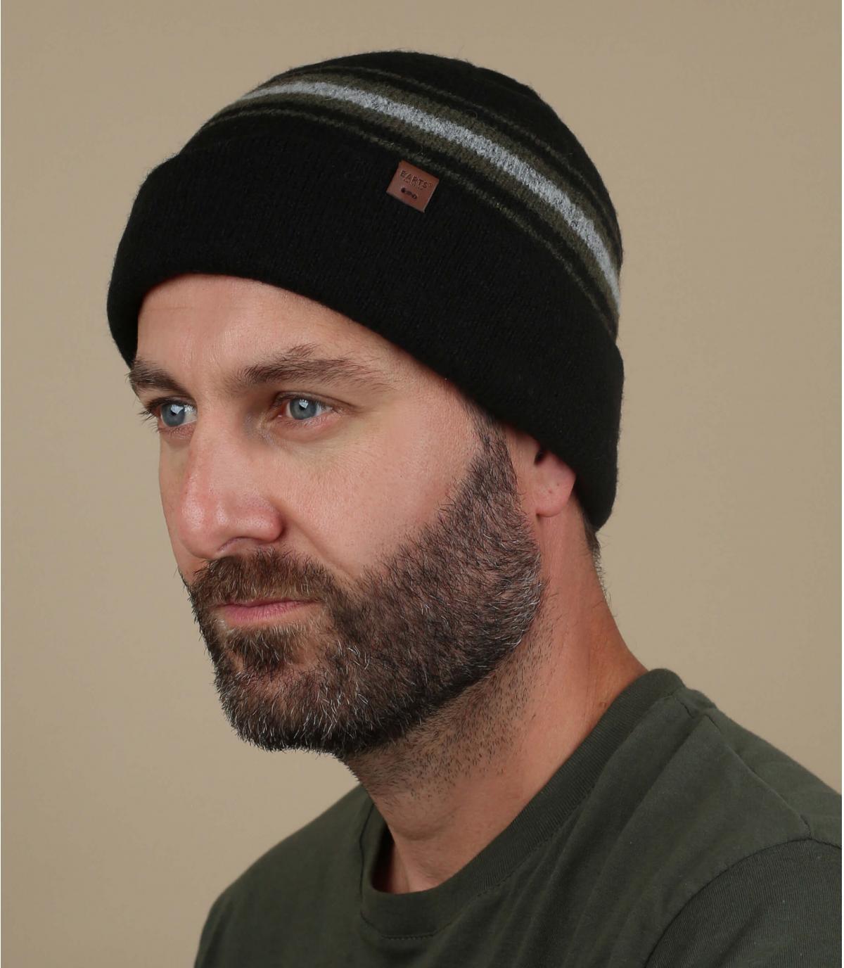 bonnet laine chameau rayure noir