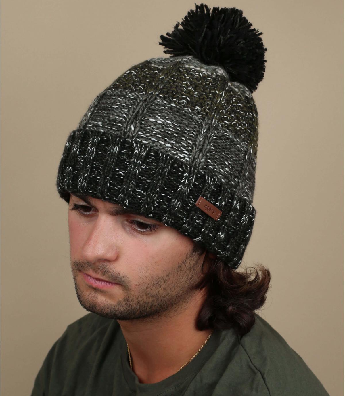 bonnet pompon rayures noir