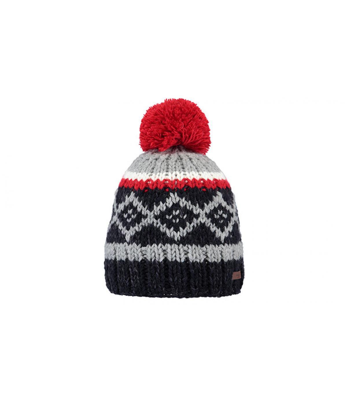 bonnet pompon motif bleu rouge