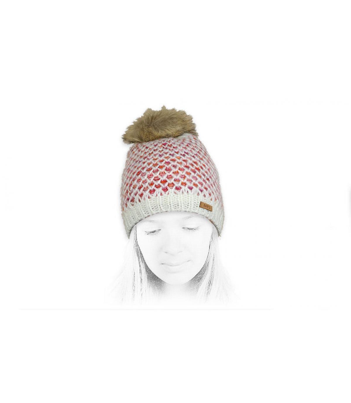 bonnet blanc fille pompon fourrure