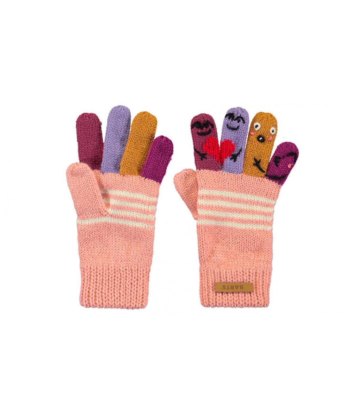 gants enfant marionnettes rose