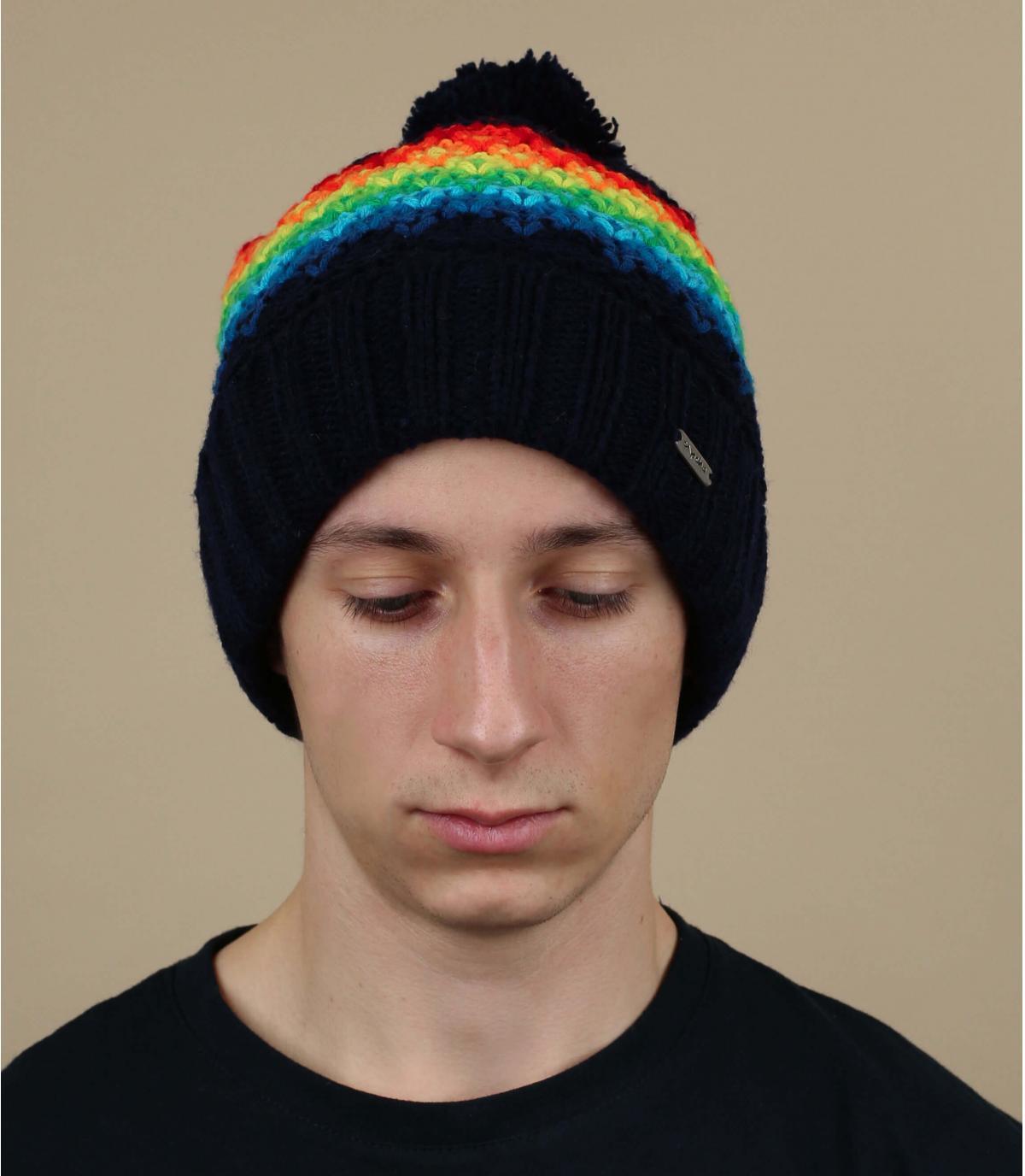 bonnet pompon multicolore