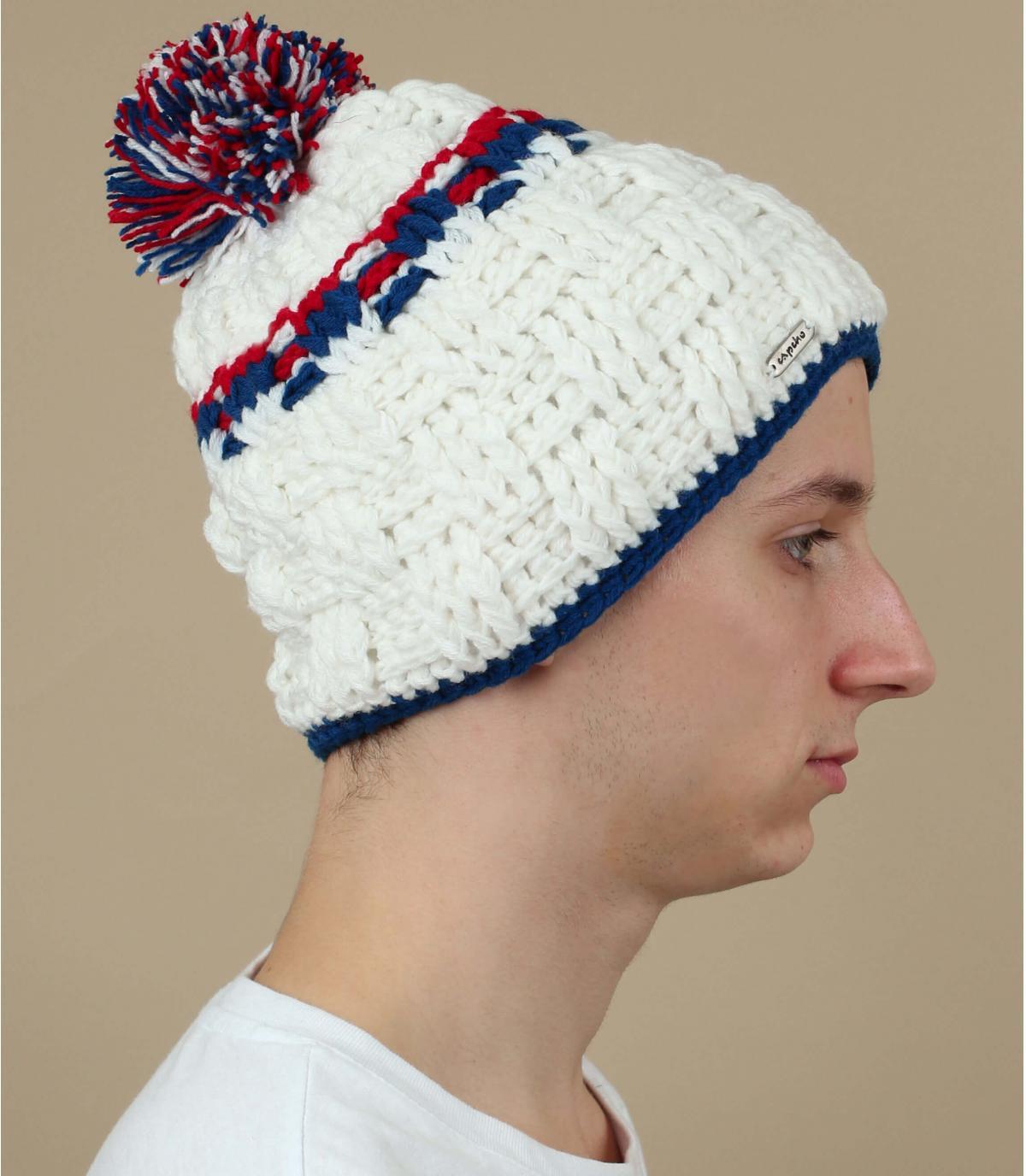 bonnet pompon blanc Capcho