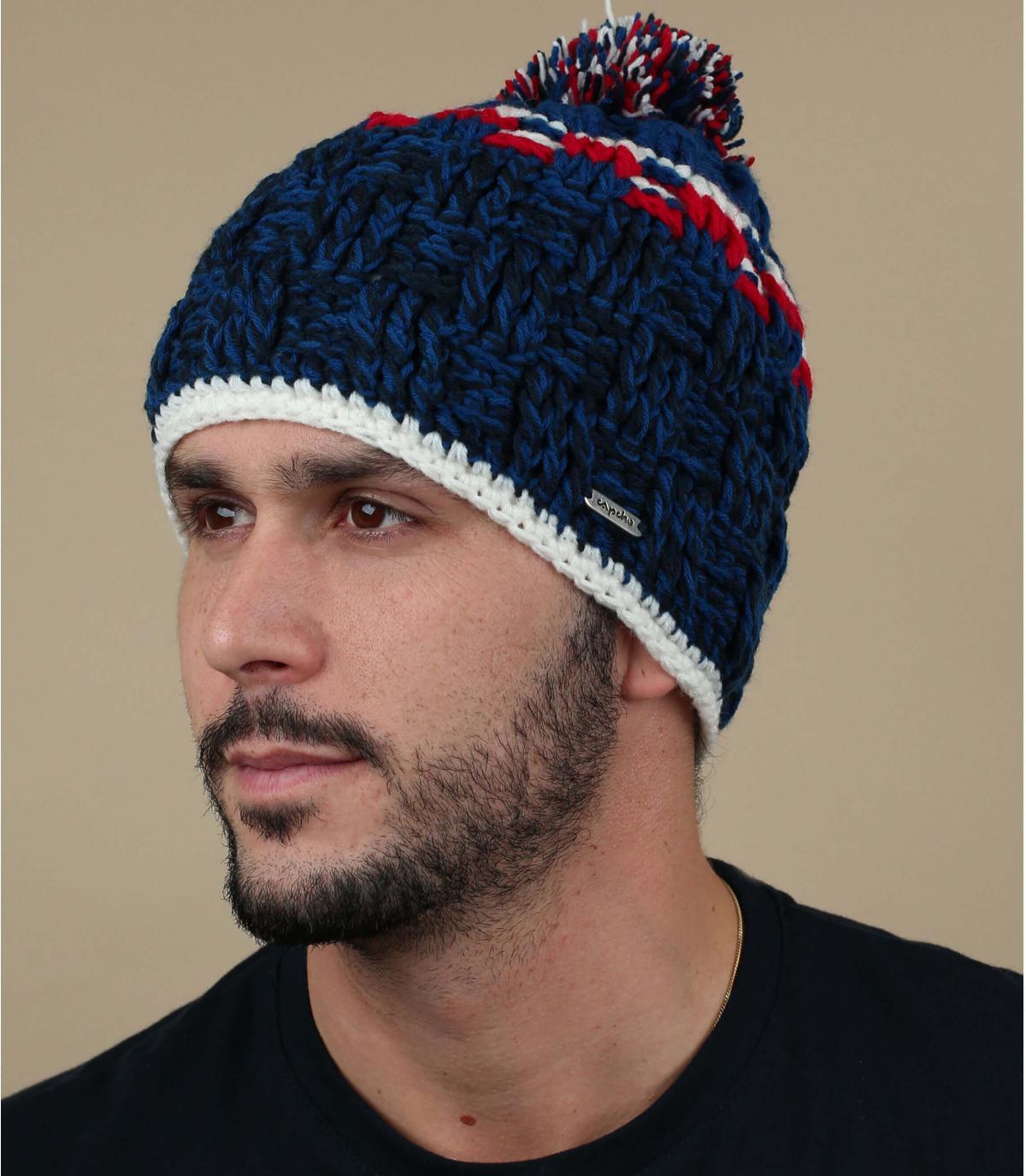 bonnet pompon bleu Capcho