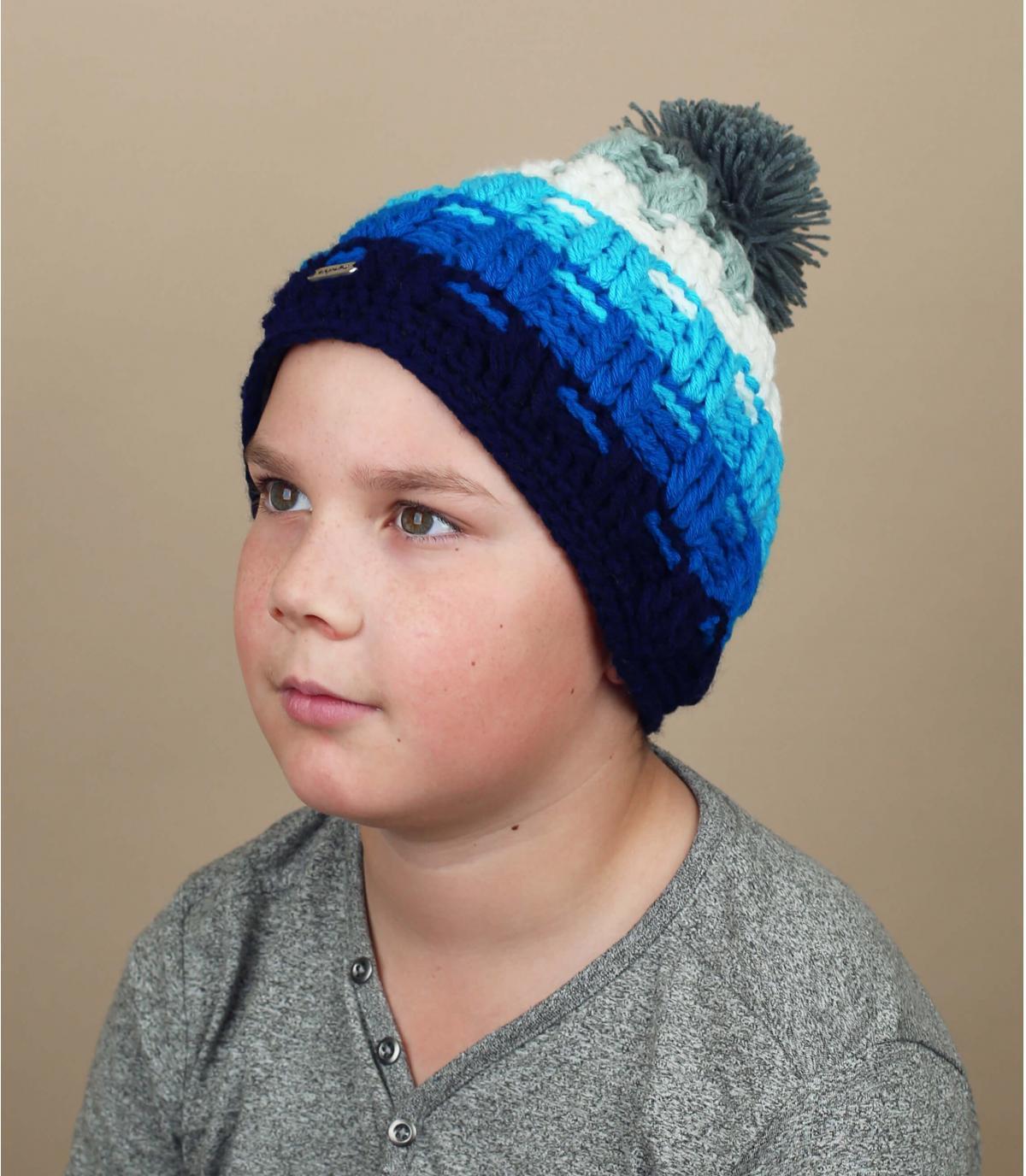 bonnet enfant pompon bleu