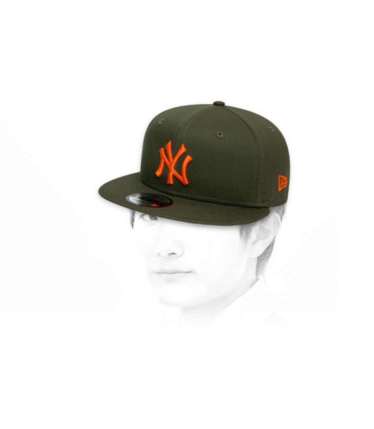 snapback NY kaki orange