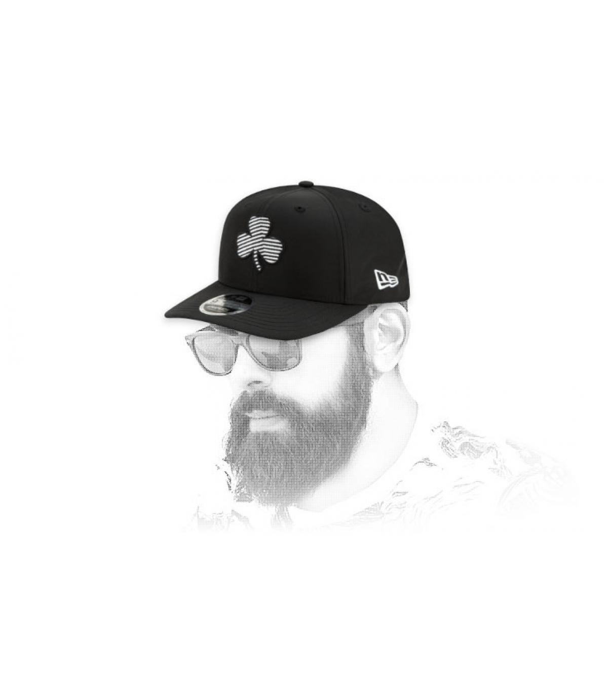 snapback Celtics noir logo zébré