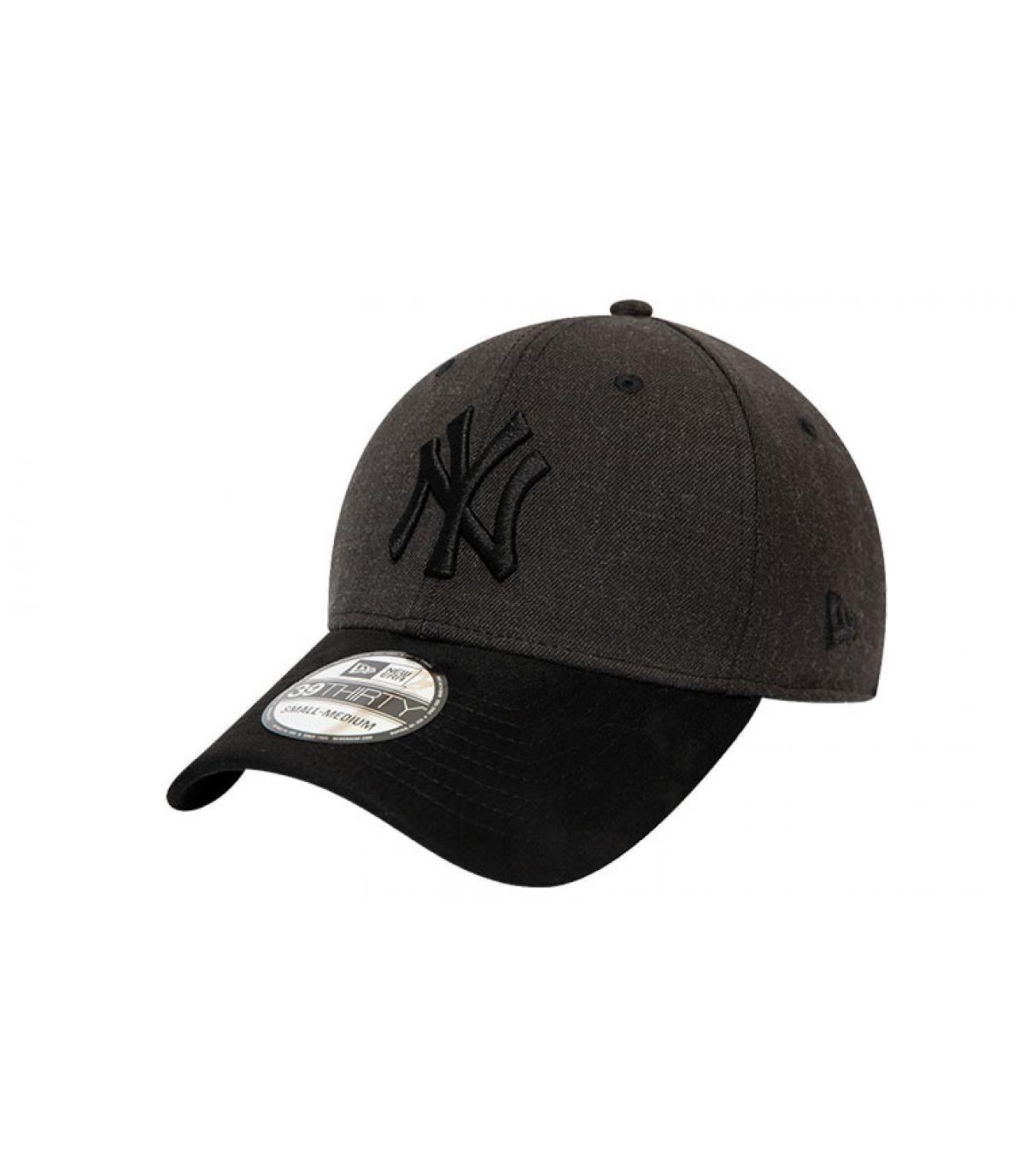 casquette NY gris noir suède