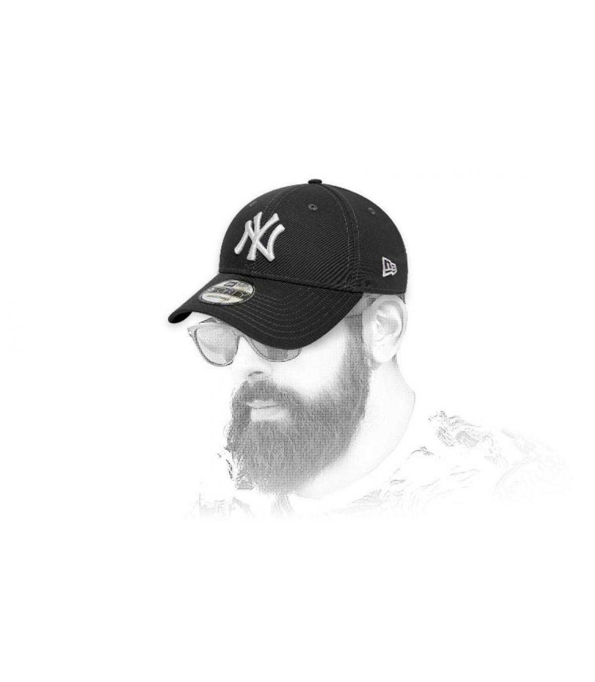 casquette NY gris blanc