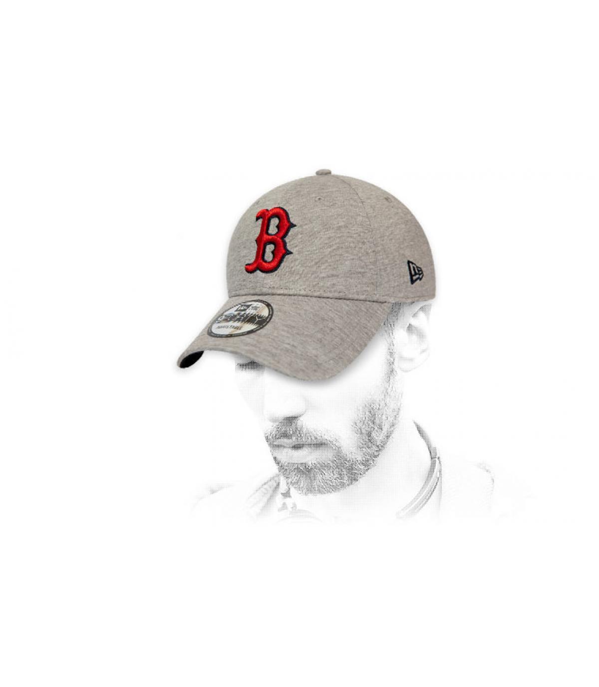 casquette B gris rouge