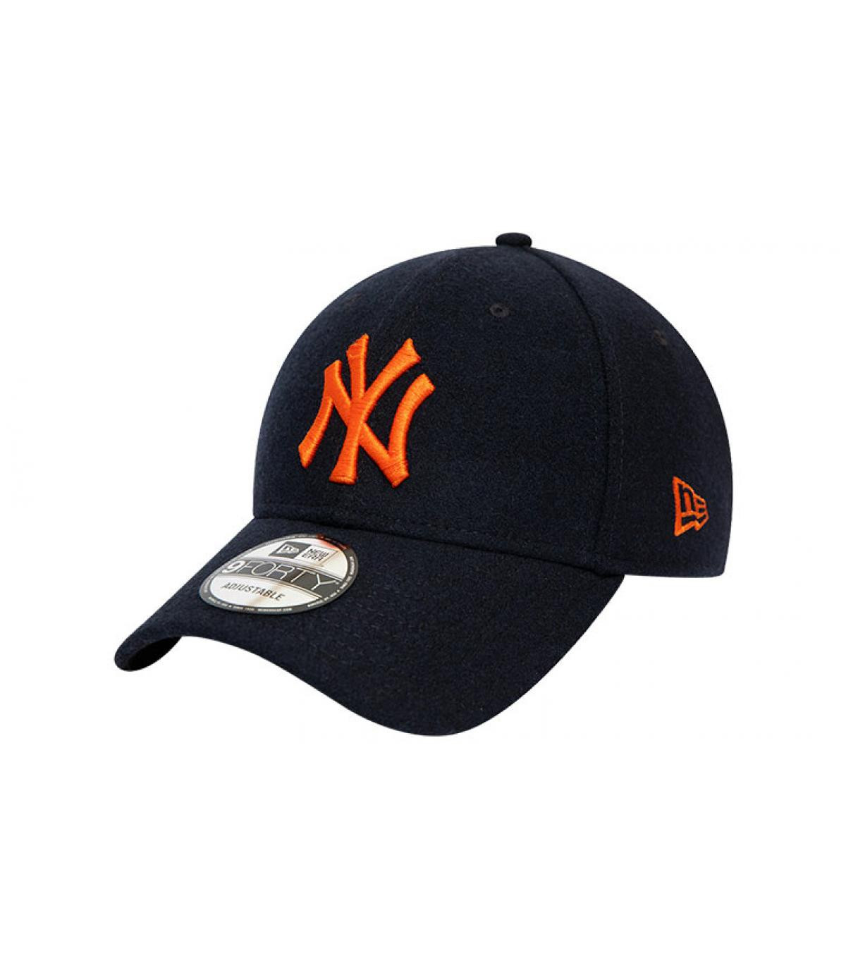 casquette NY bleu orange laine