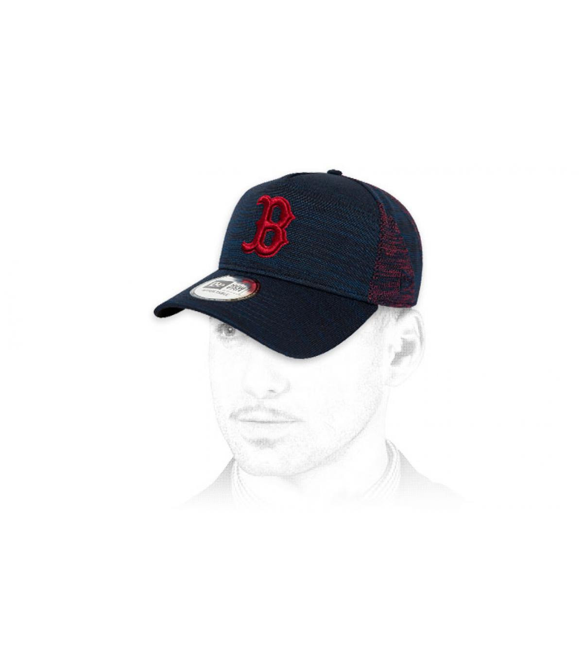 casquette B bleu rouge
