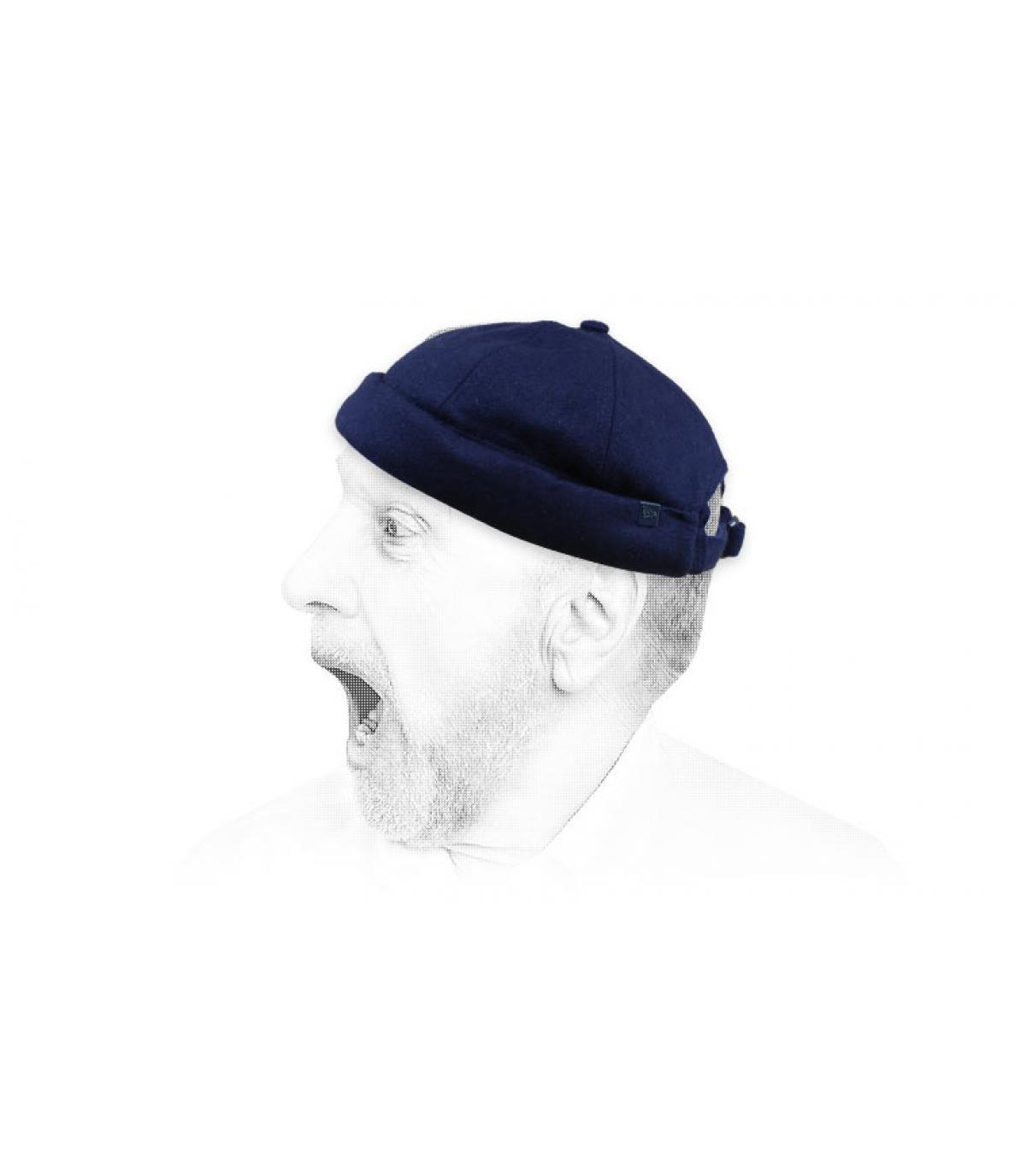 bonnet docker bleu laine New Era