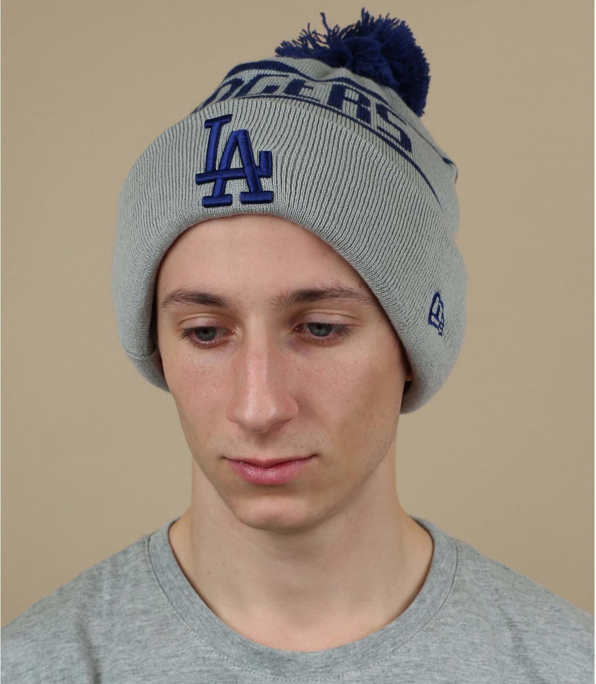 bonnet Dodgers gris pompon