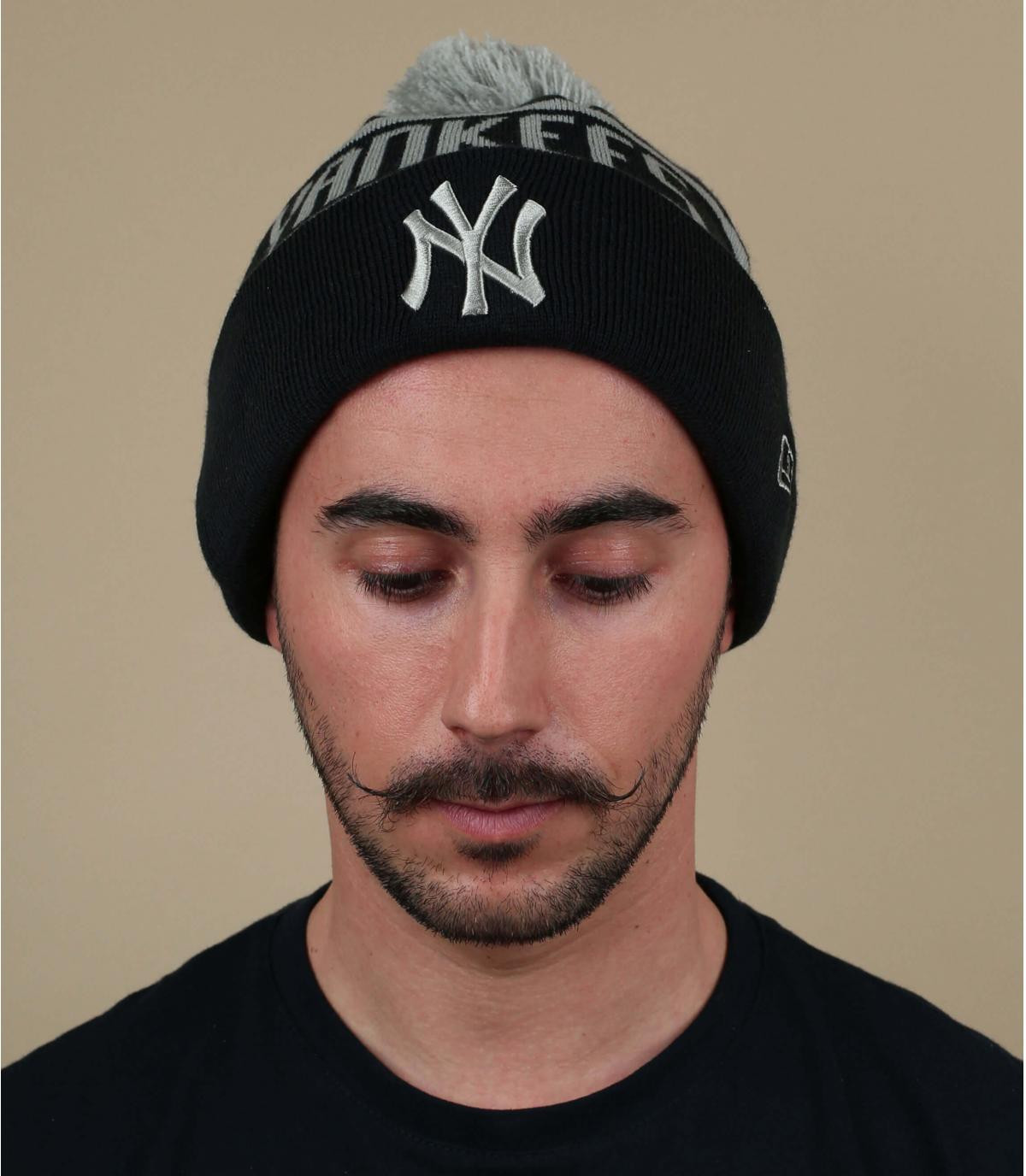 bonnet Yankees bleu pompon