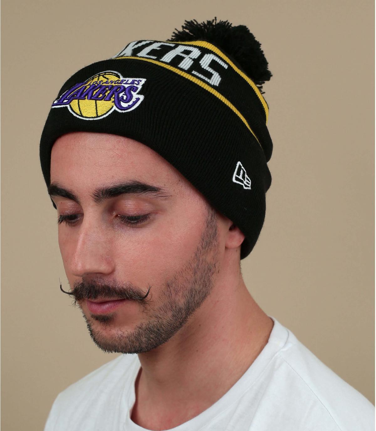 bonnet Lakers noir pompon