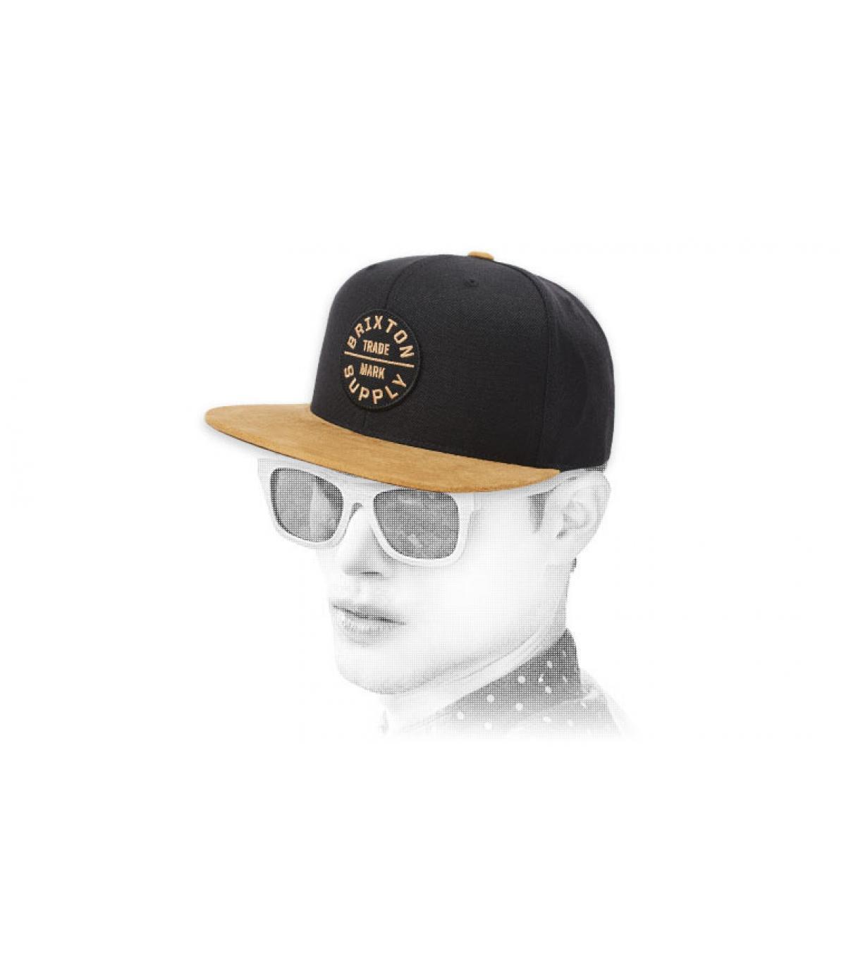 snapback Brixton noir beige