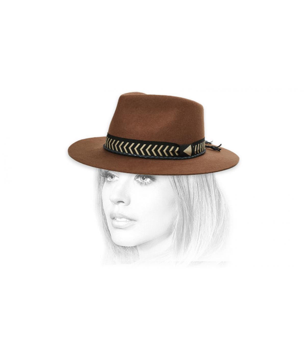 chapeau feutre galon tressé