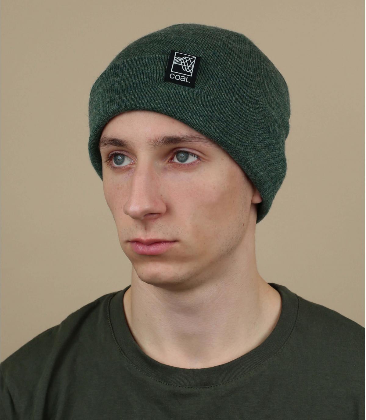 bonnet revers vert Coal laine