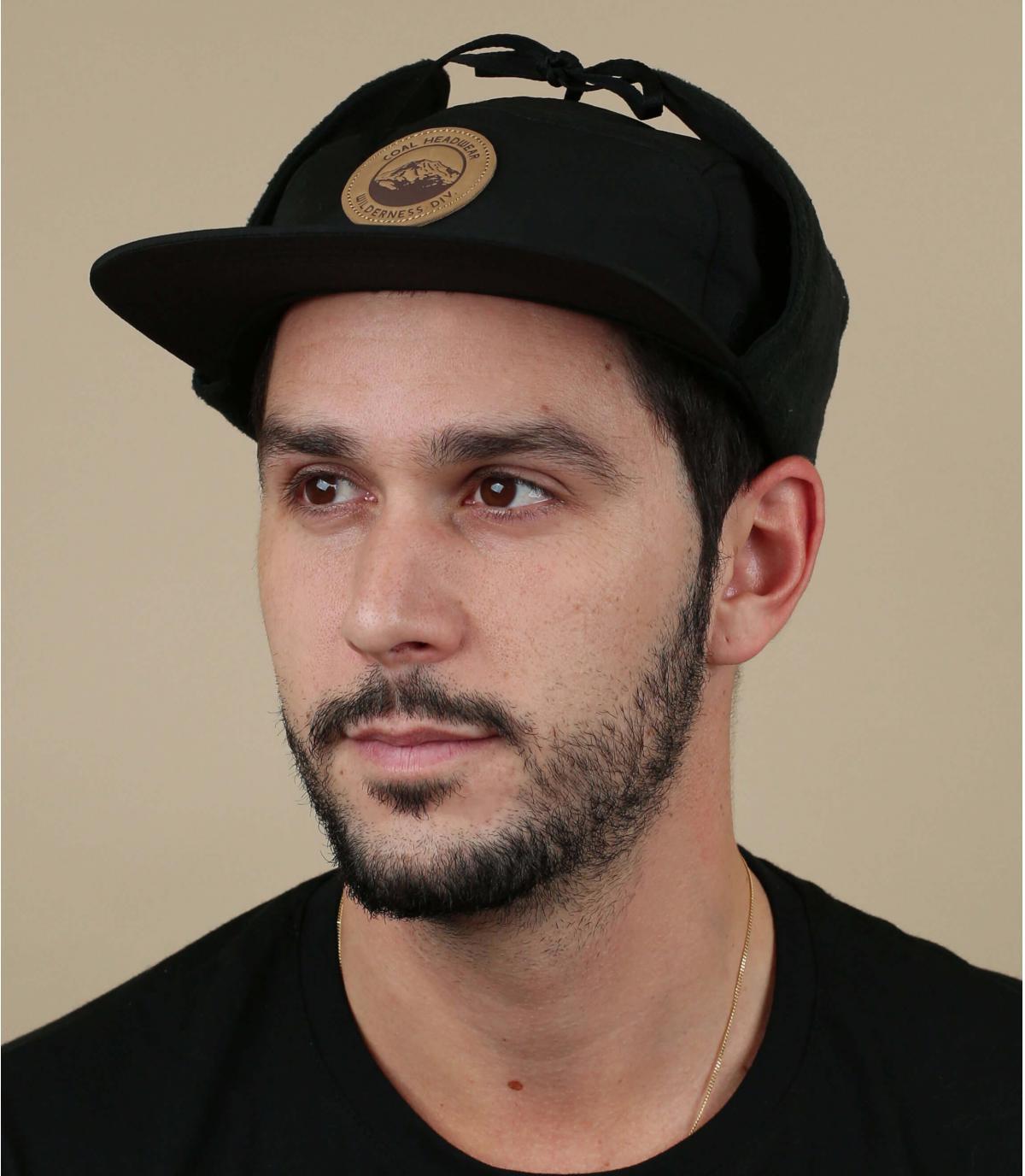 casquette 5 panel protège oreille noir