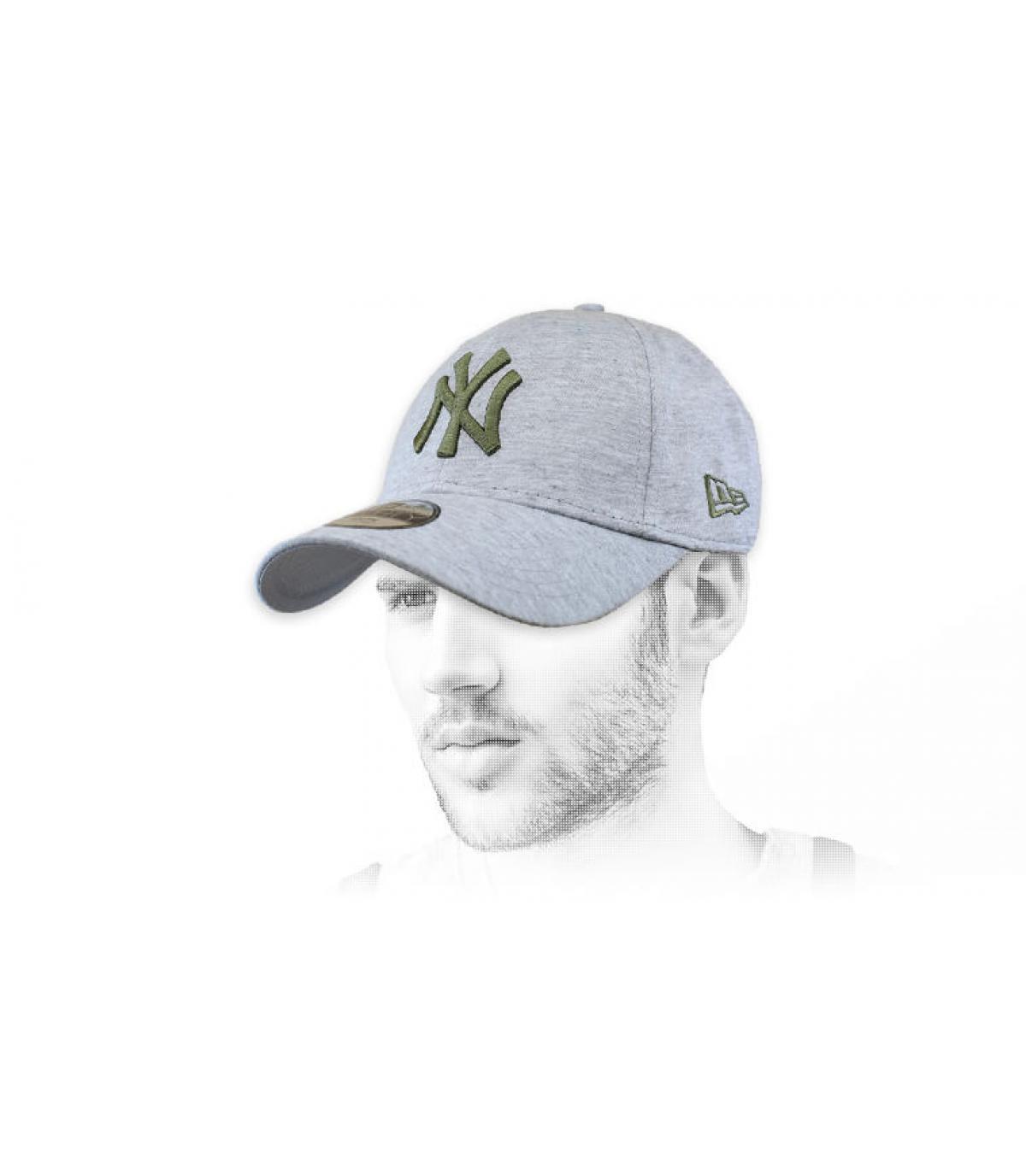 casquette NY gris vert