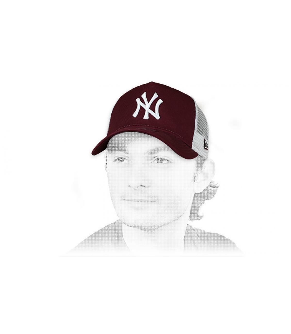 trucker NY bordeaux blanc