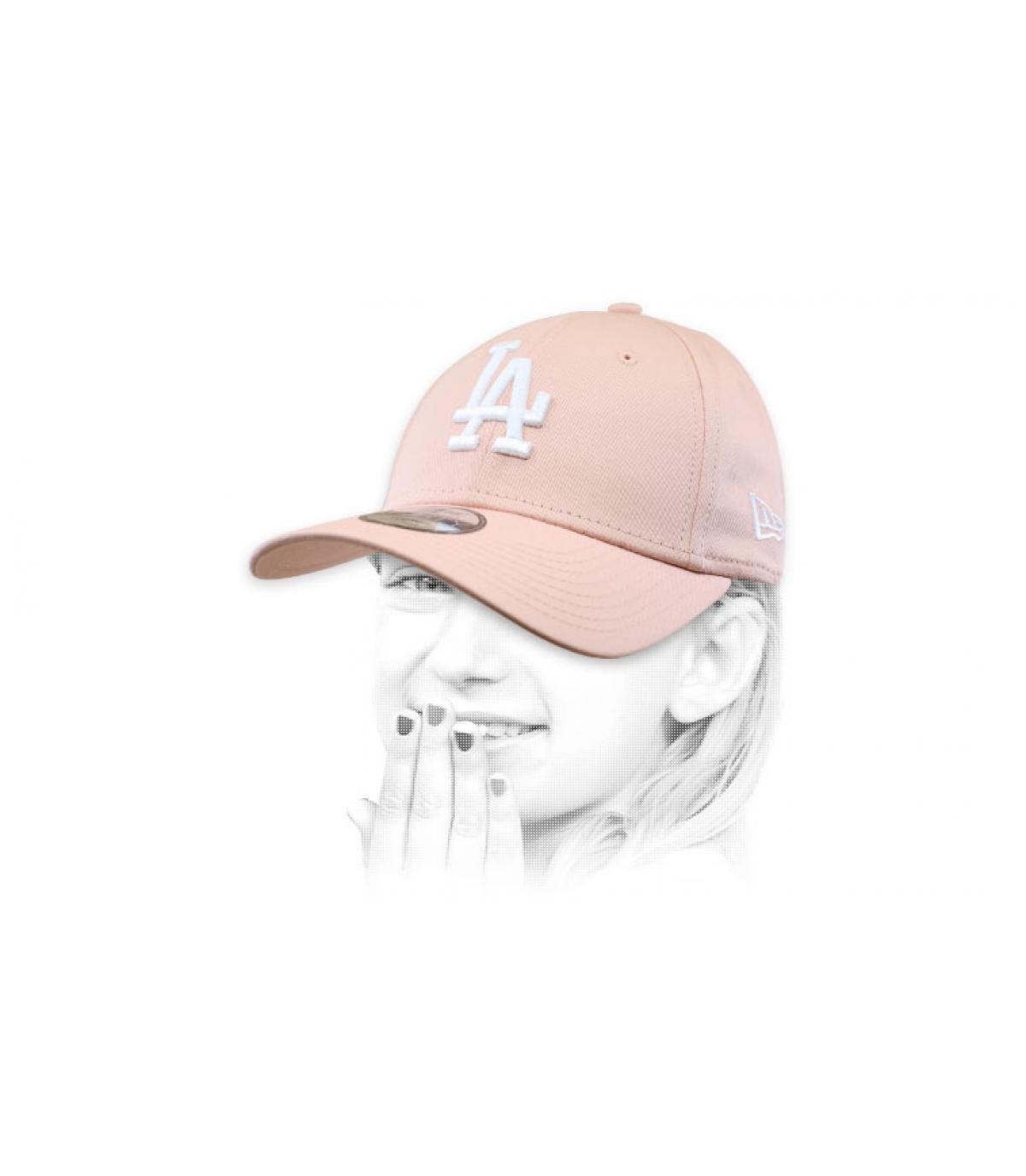 casquette LA enfant rose