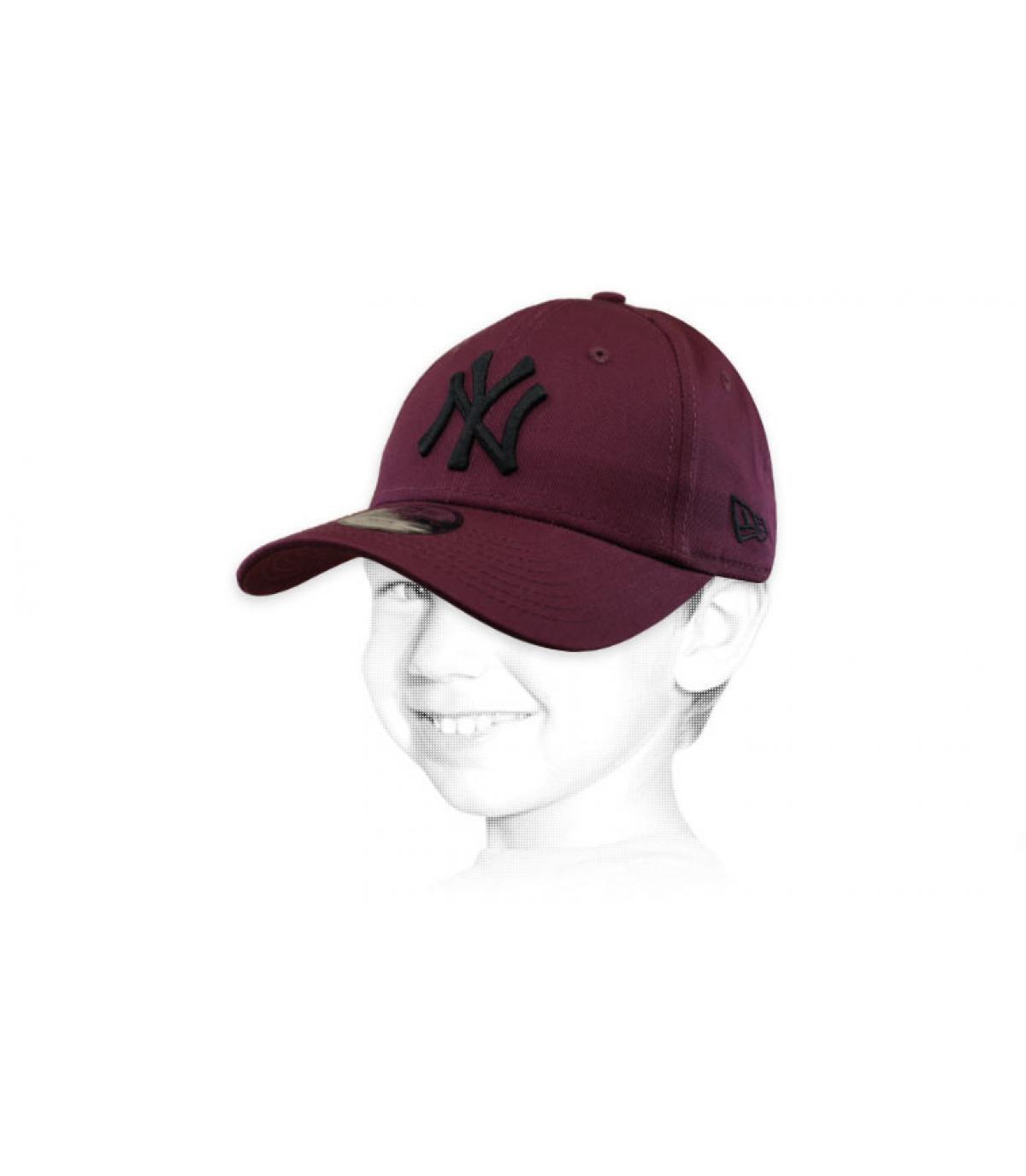 casquette enfant NY bordeaux