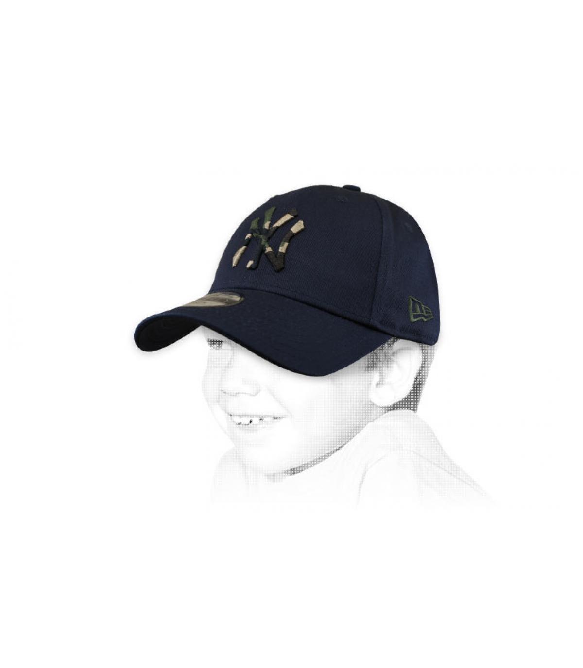 casquette enfant NY bleu camo