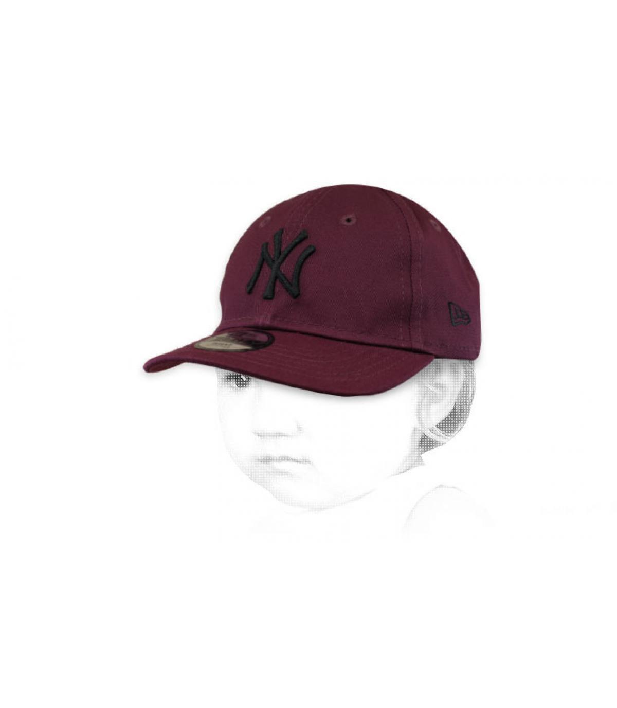 casquette bébé NY bordeaux