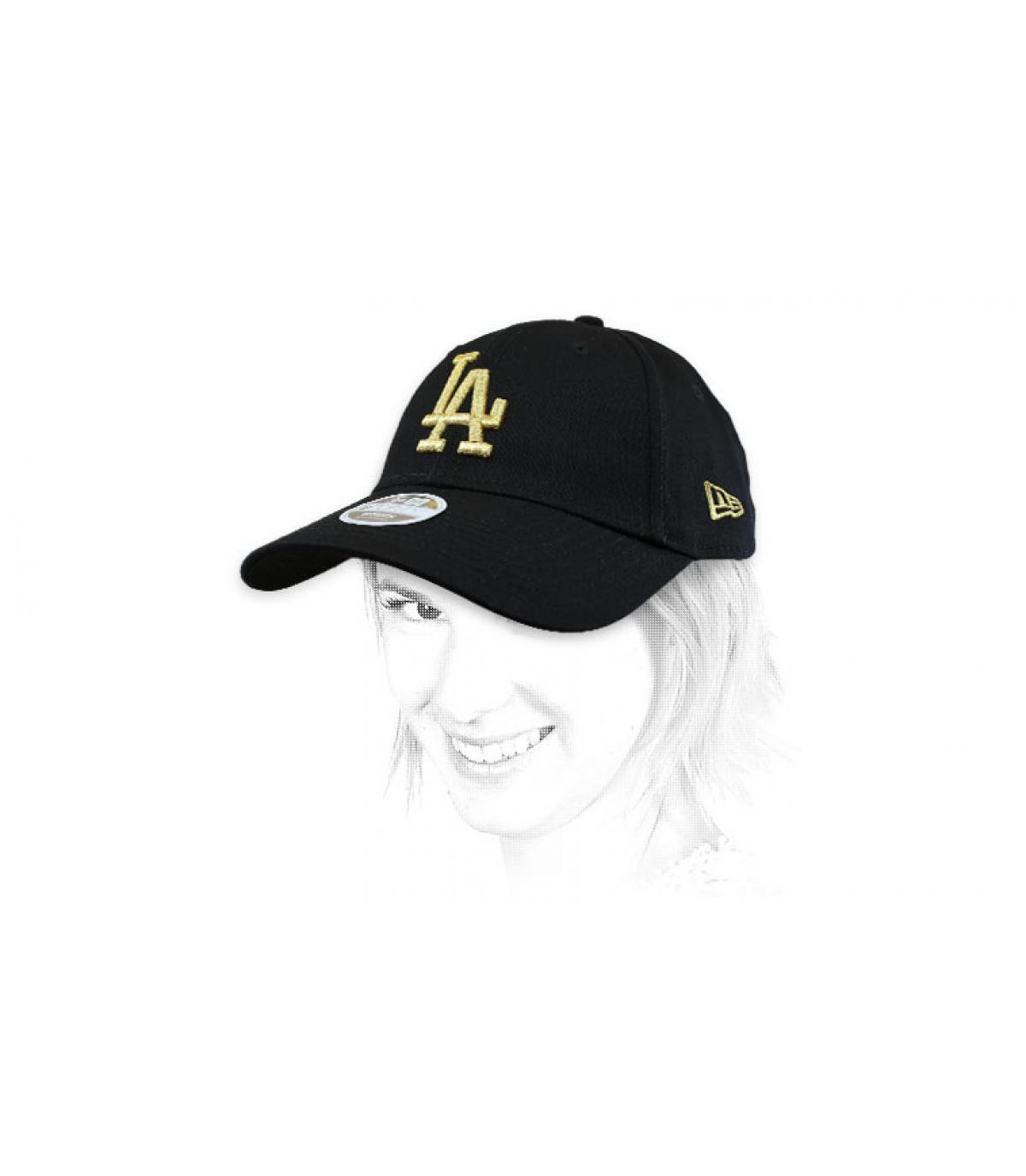 casquette femme LA noir or