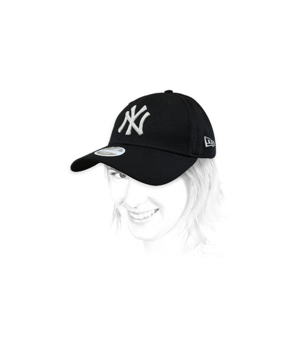 casquette femme NY noir argent