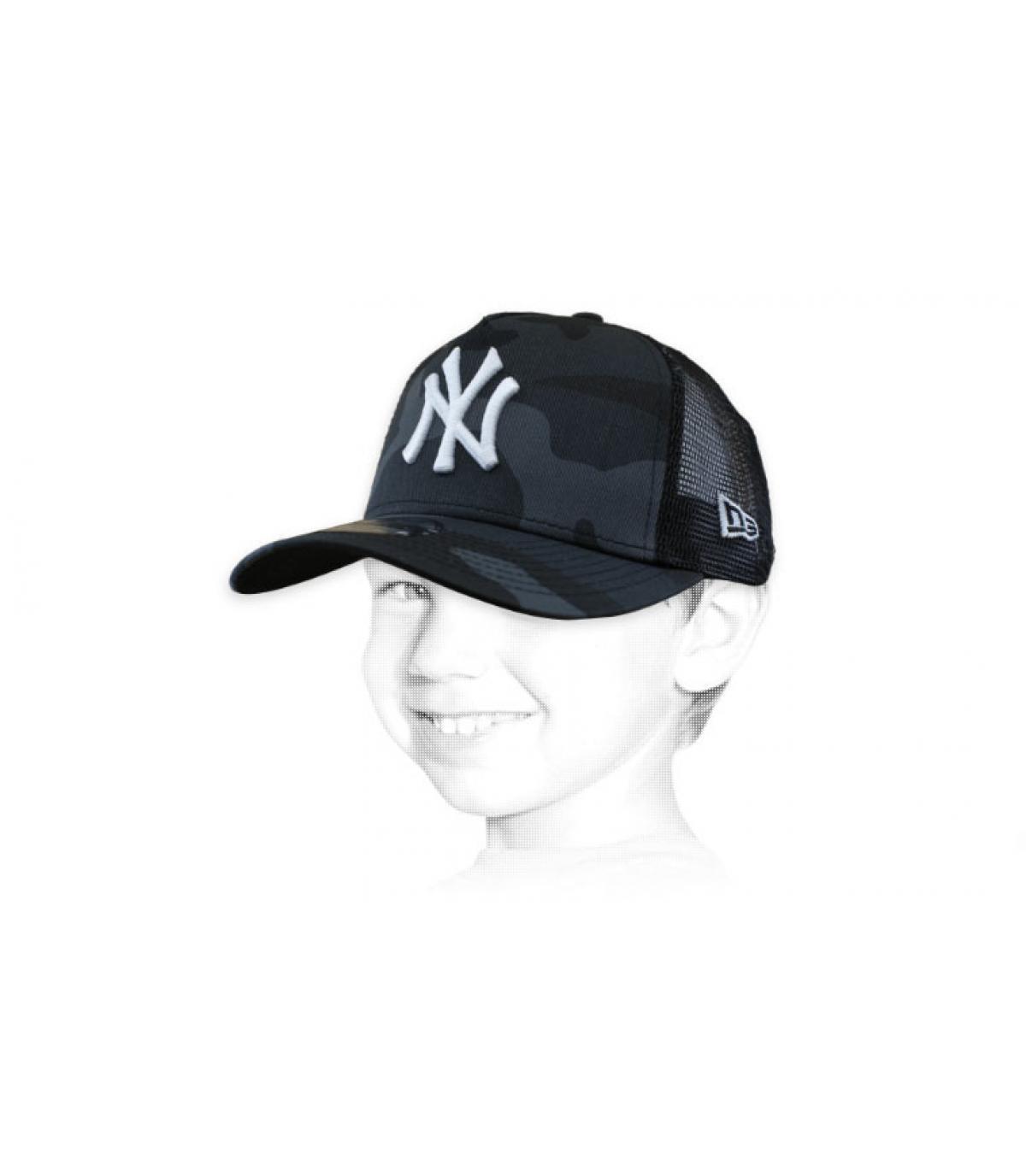 trucker enfant NY camo gris