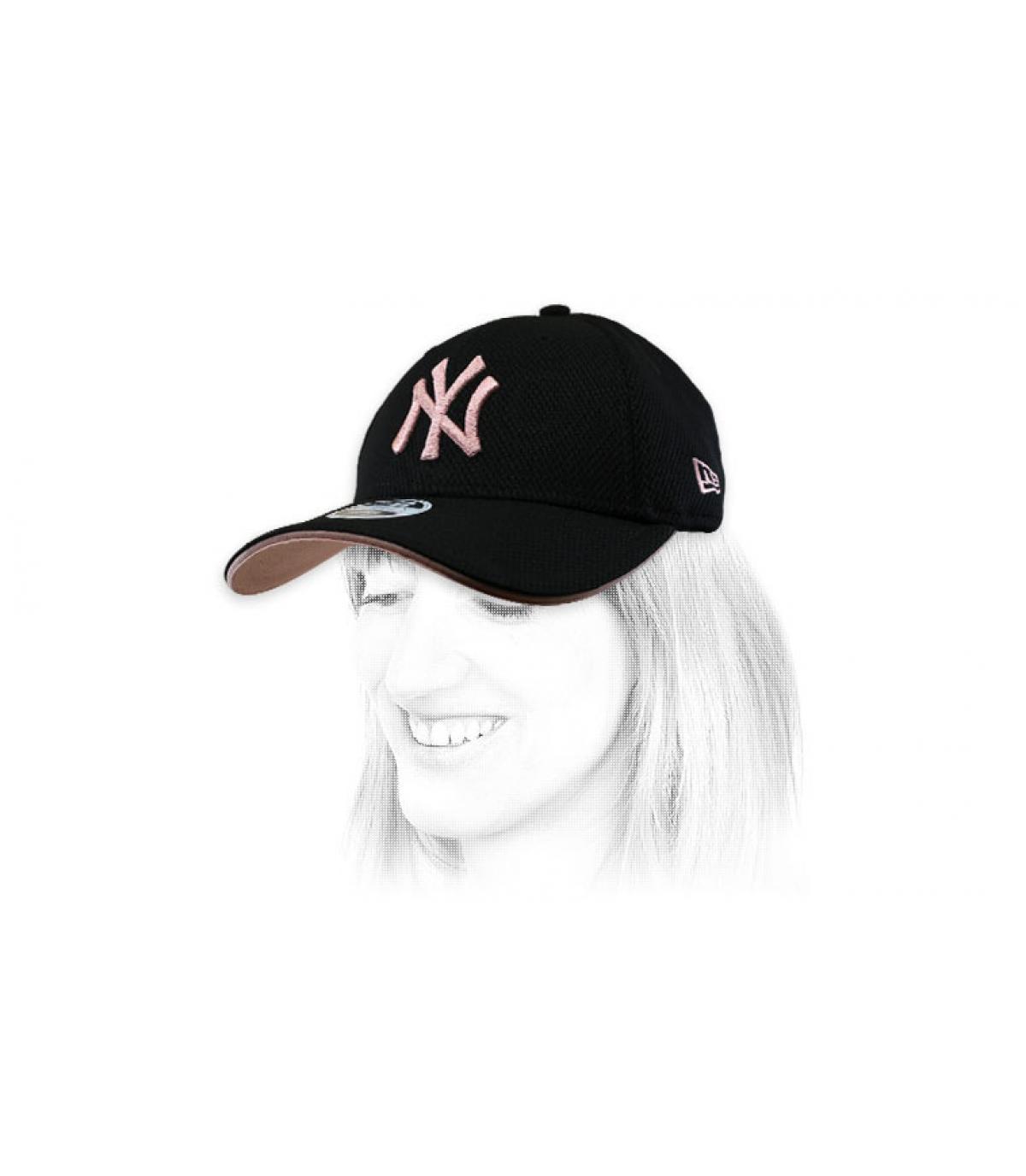 casquette femme NY noir rose